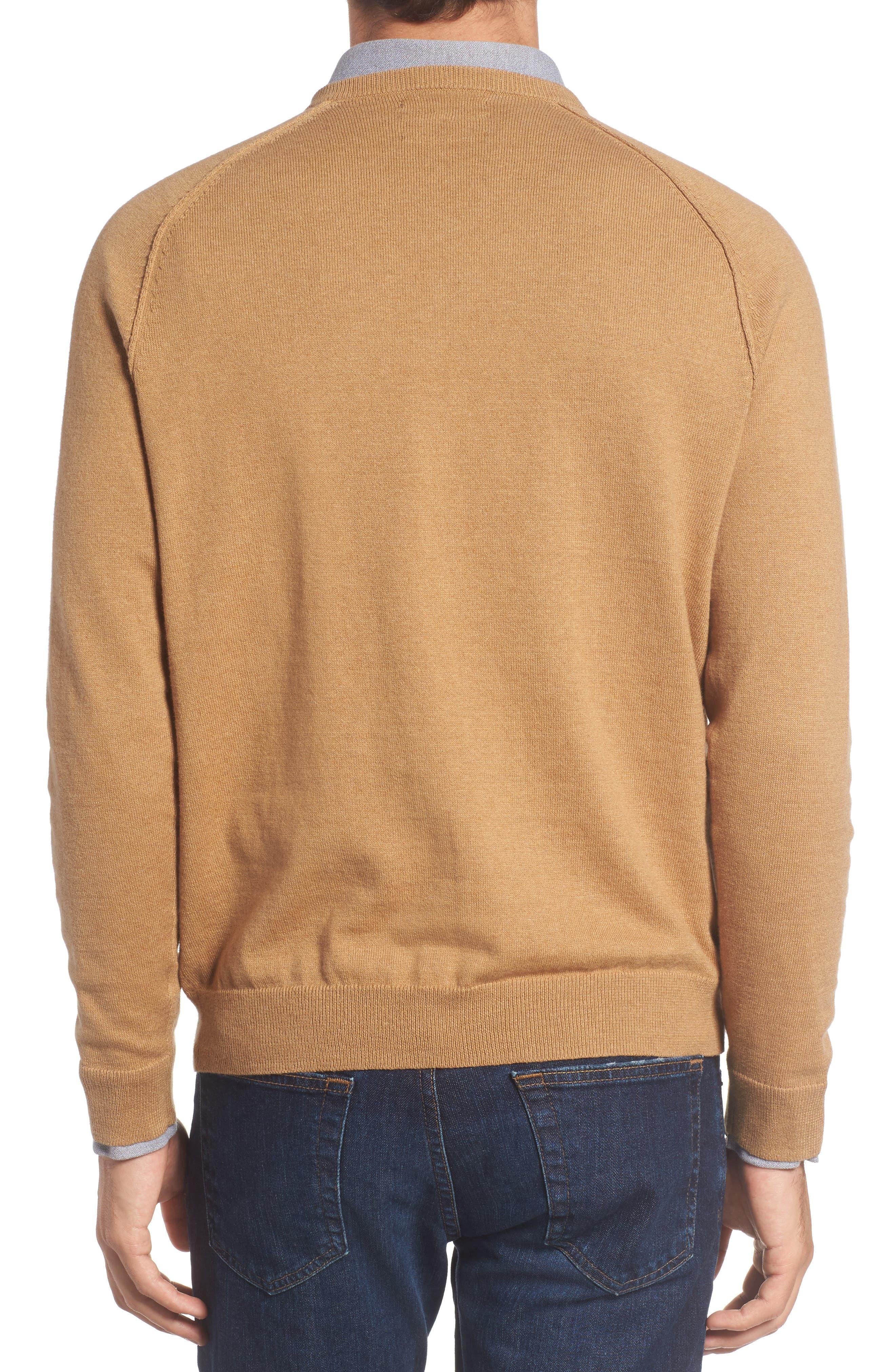 Saddle Shoulder Cotton & Cashmere V-Neck Sweater,                             Alternate thumbnail 13, color,