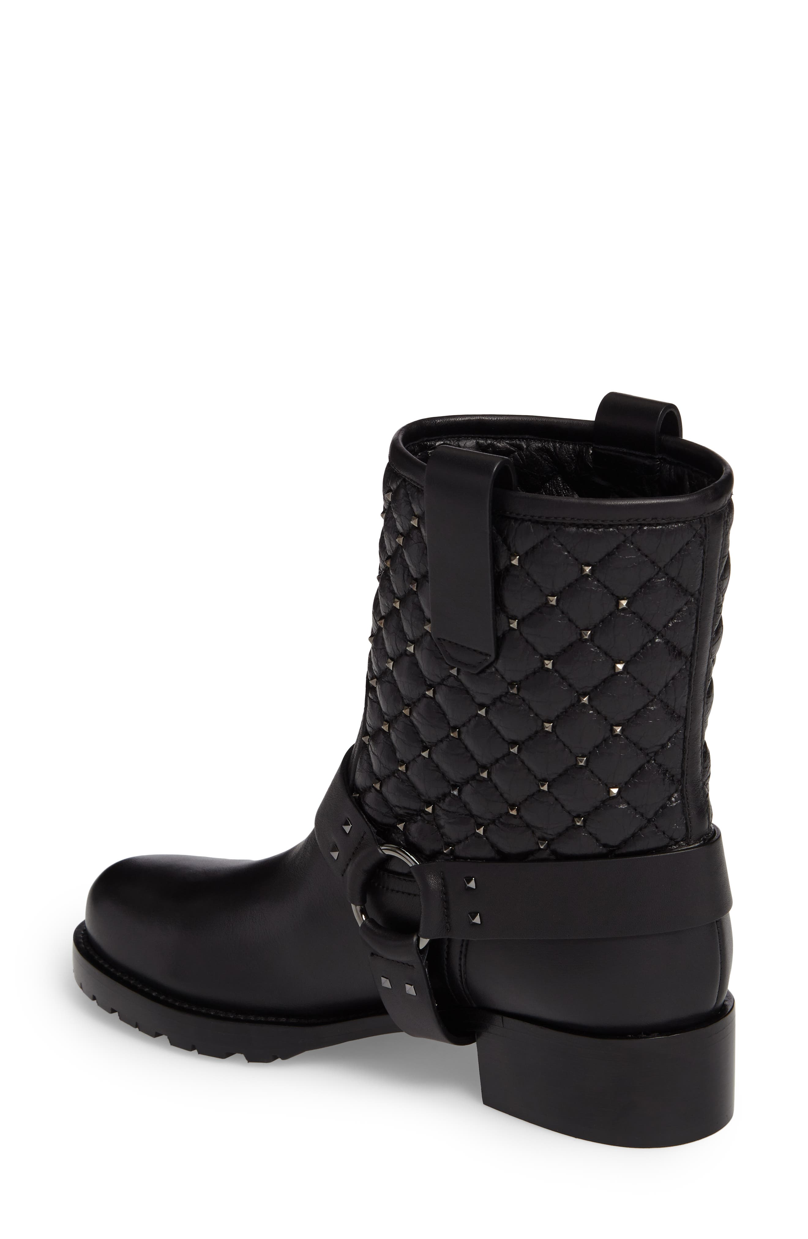 Rockstud Quilted Harness Bootie,                             Alternate thumbnail 2, color,                             001