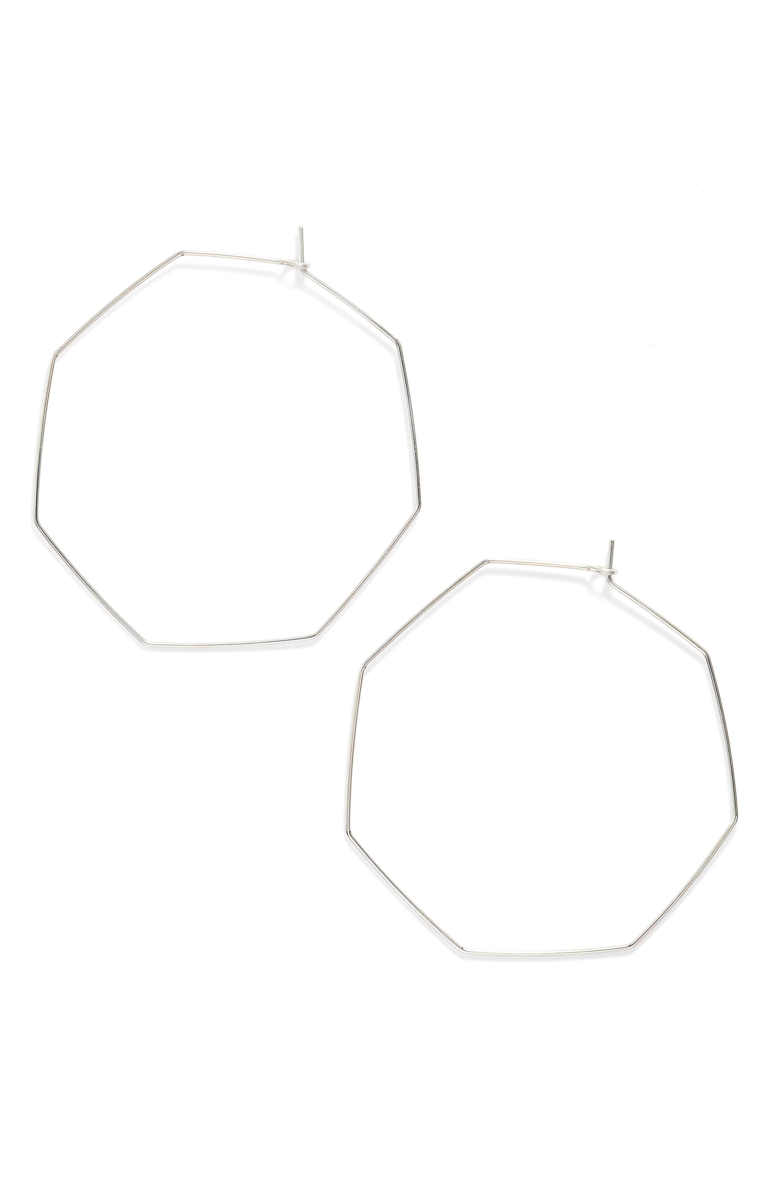 Octagon Hoop Earrings,                             Main thumbnail 1, color,                             SILVER