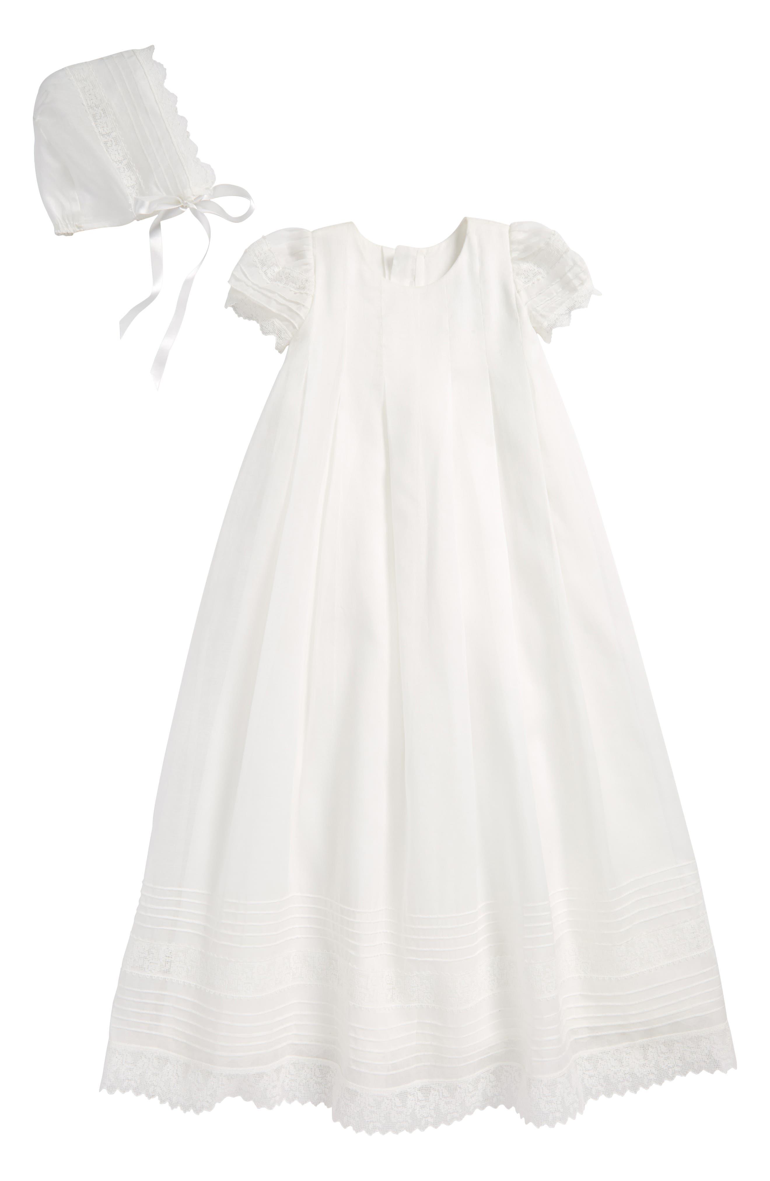 Gracious Organdy Christening Gown & Bonnet Set,                             Main thumbnail 1, color,                             IVORY