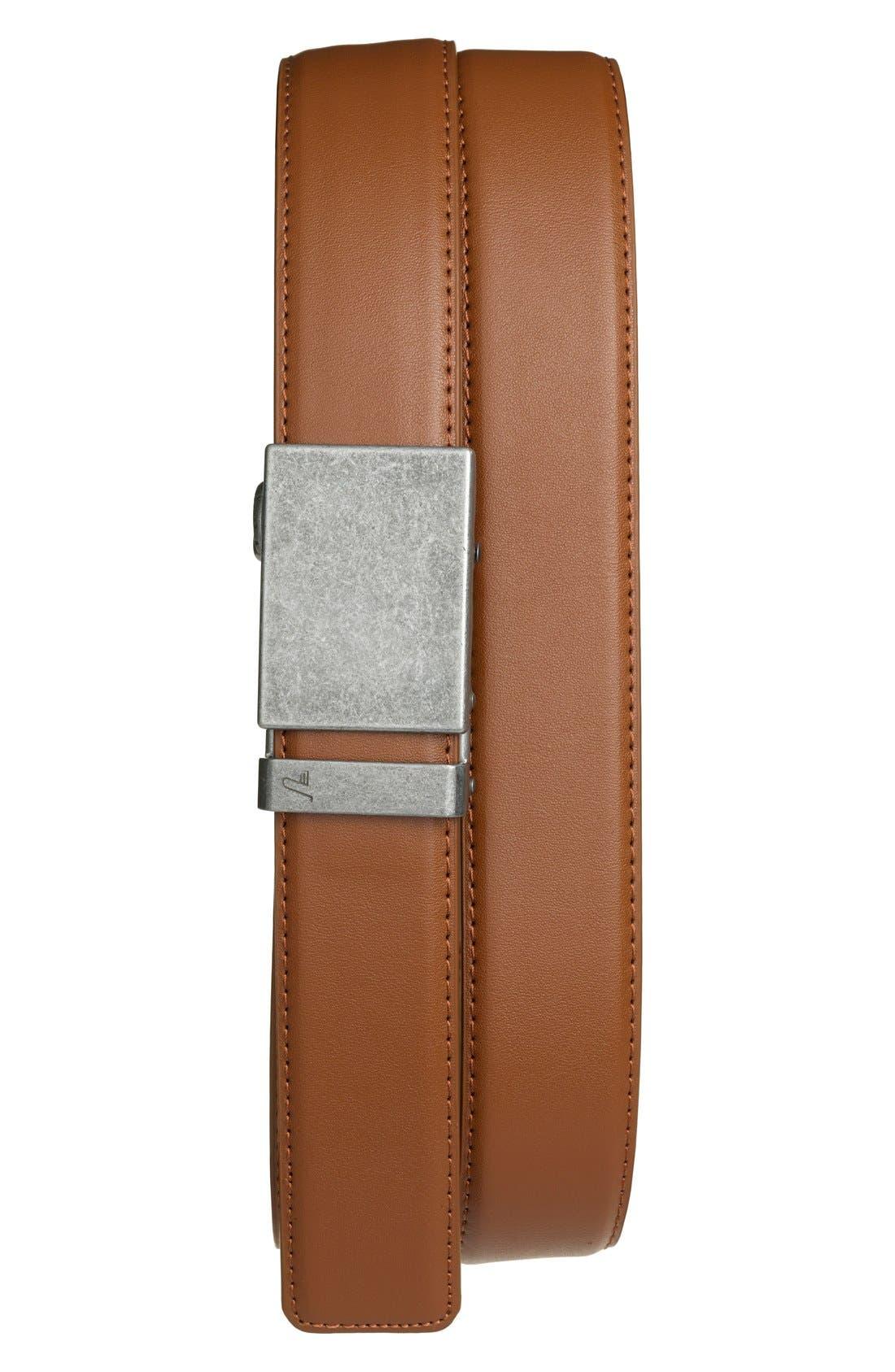 'Iron' Leather Belt,                         Main,                         color, IRON/ TAN
