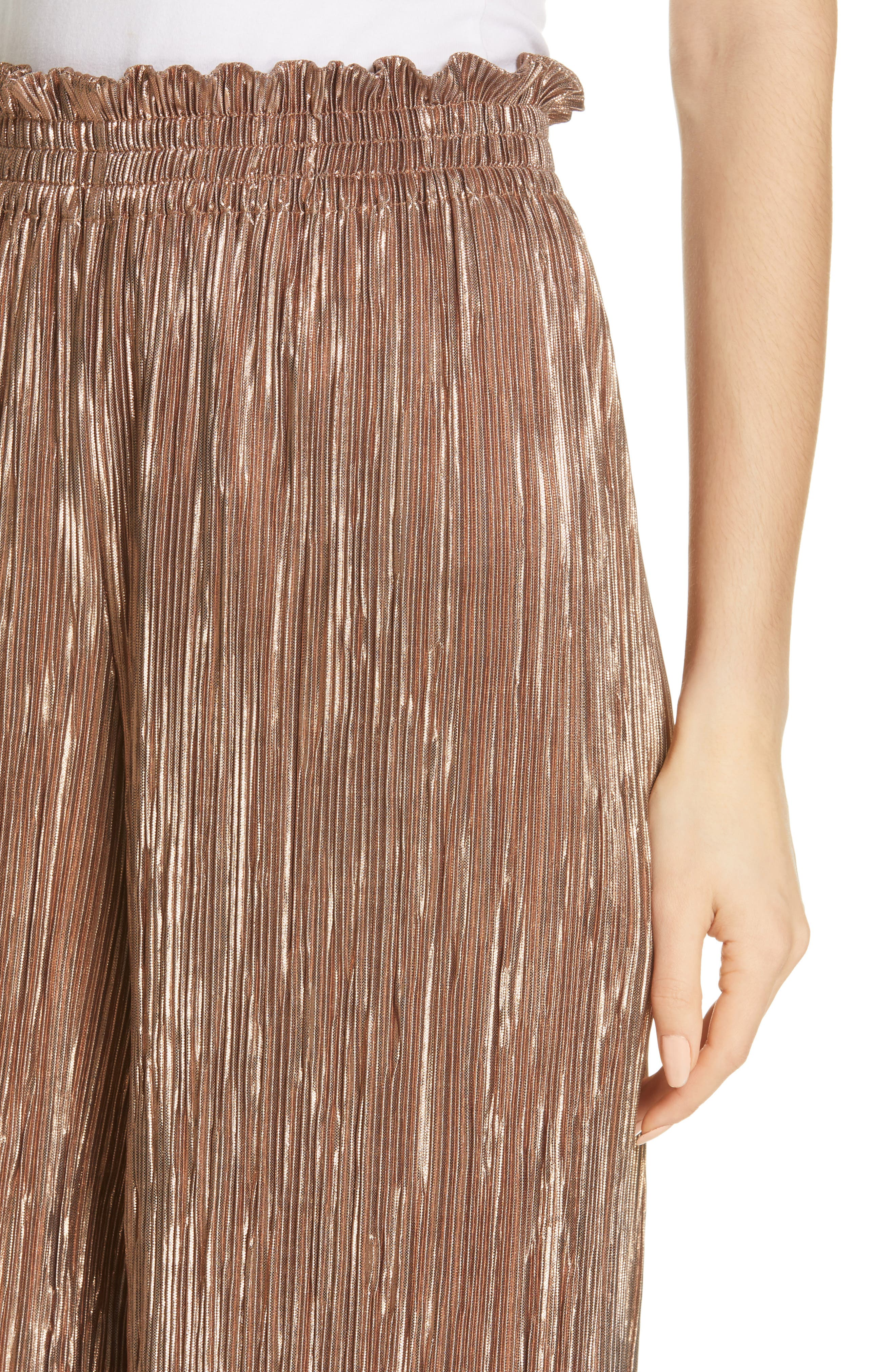Elba Paperbag Waist Crop Pants,                             Alternate thumbnail 4, color,                             ROSE GOLD