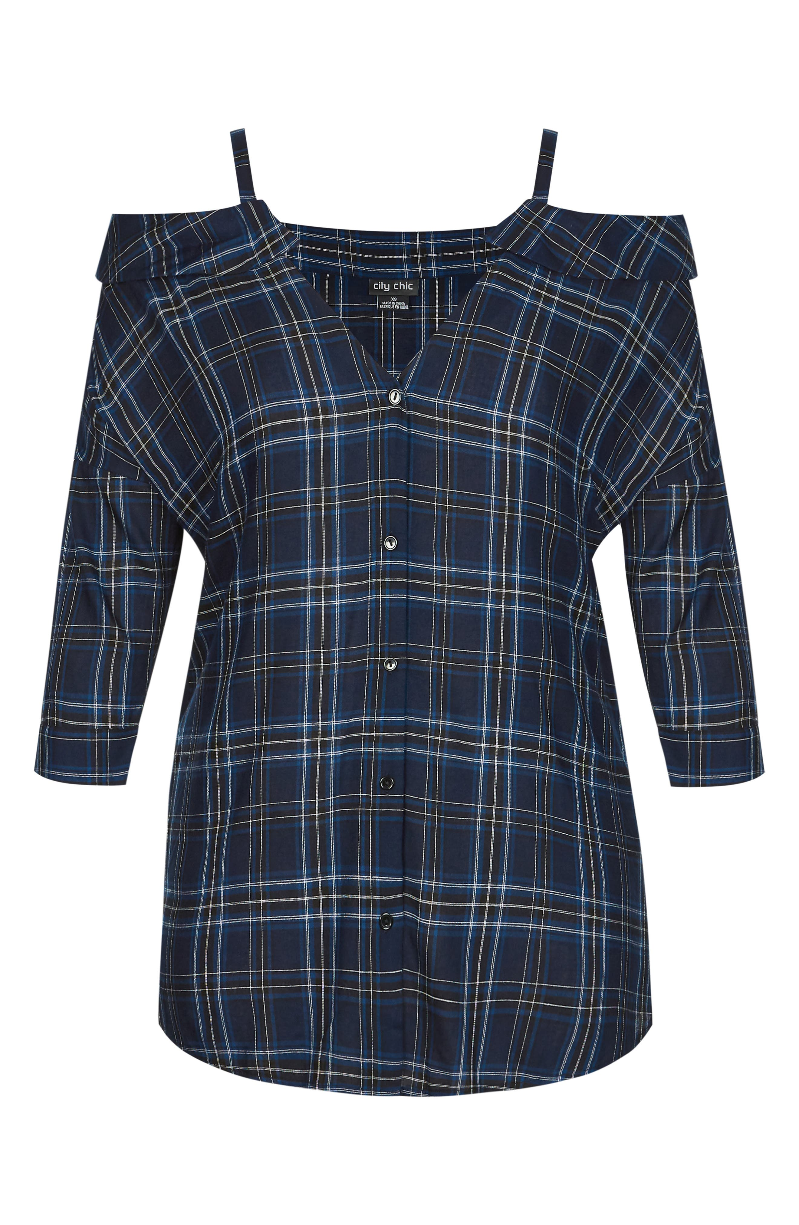 Chic Chic Reality Check Cold Shoulder Top,                             Alternate thumbnail 3, color,                             NAVY/ BLUE CHECK