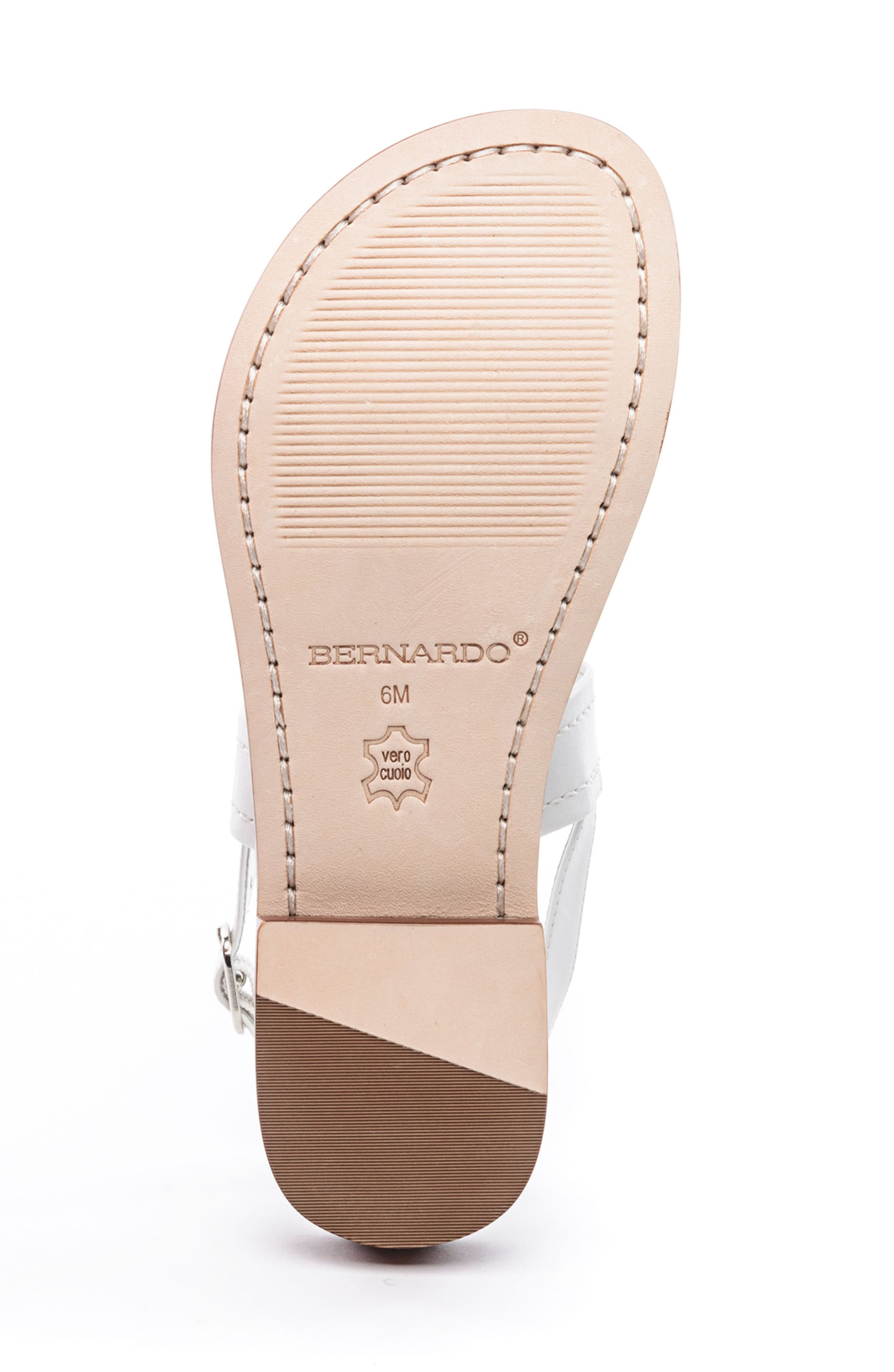 Bernardo Tegan Sandal,                             Alternate thumbnail 6, color,                             WHITE LEATHER