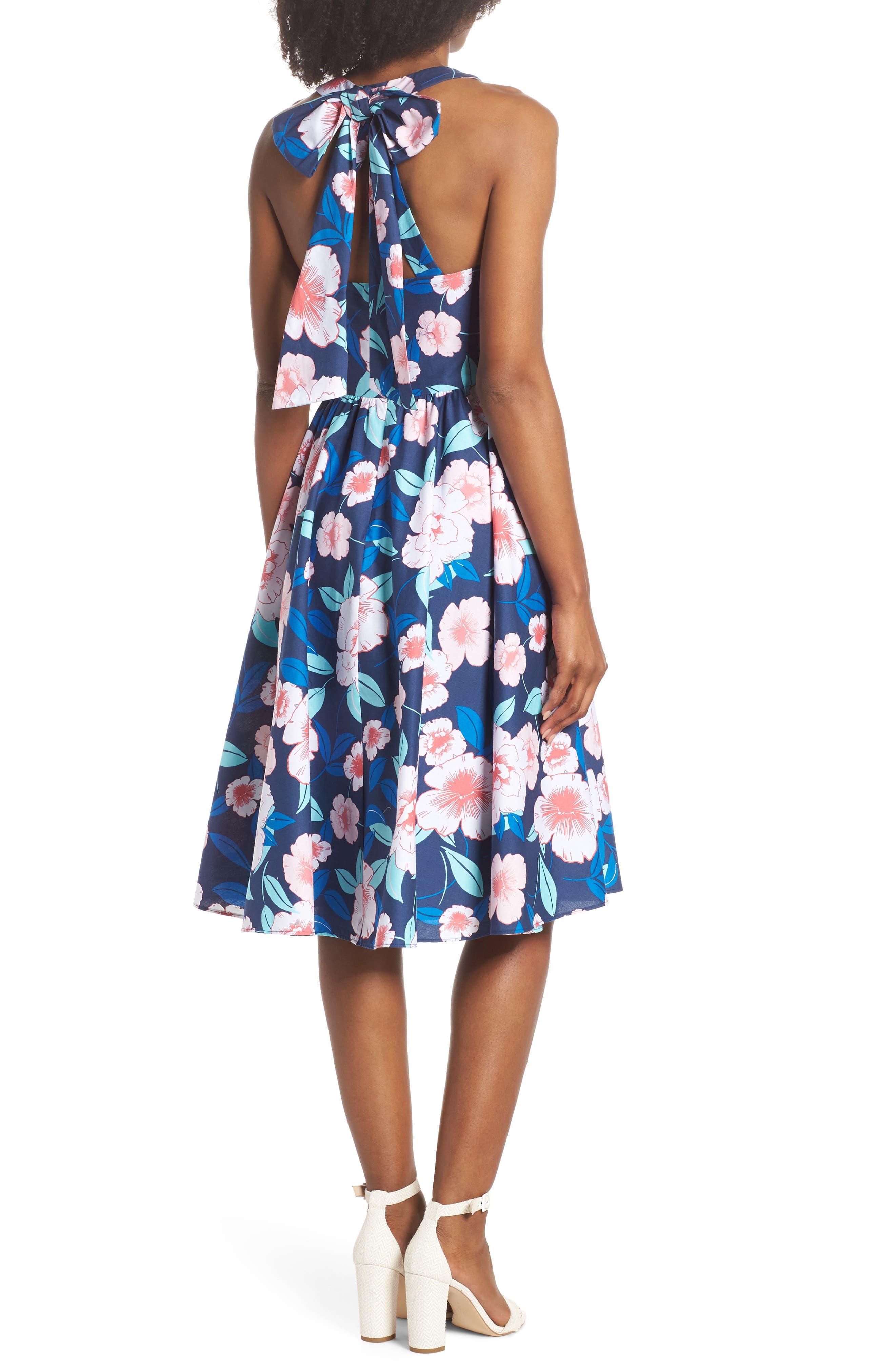 Floral Fit & Flare Halter Dress,                             Alternate thumbnail 2, color,                             410