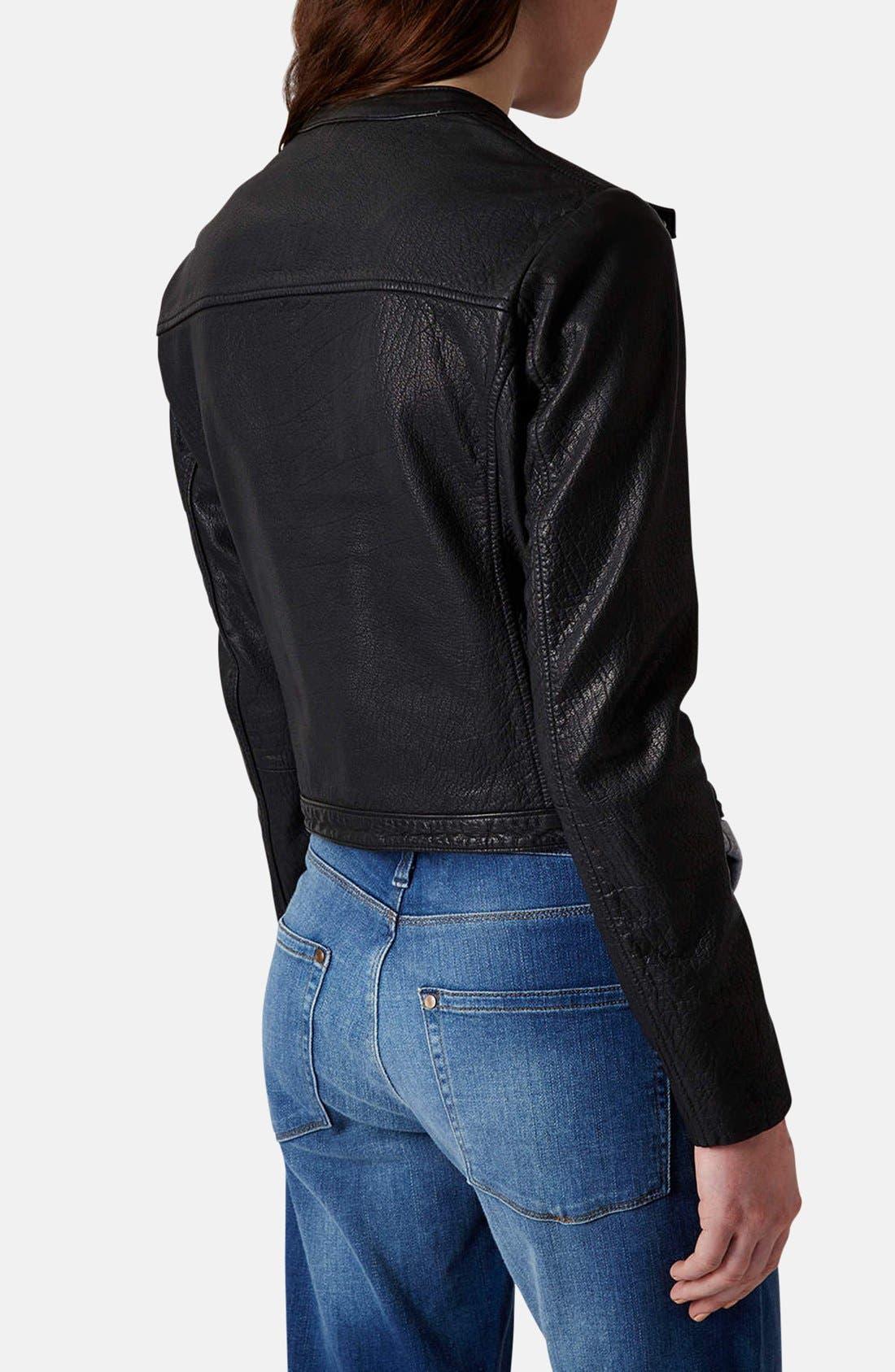 Collarless Leather Biker Jacket,                             Alternate thumbnail 2, color,                             001