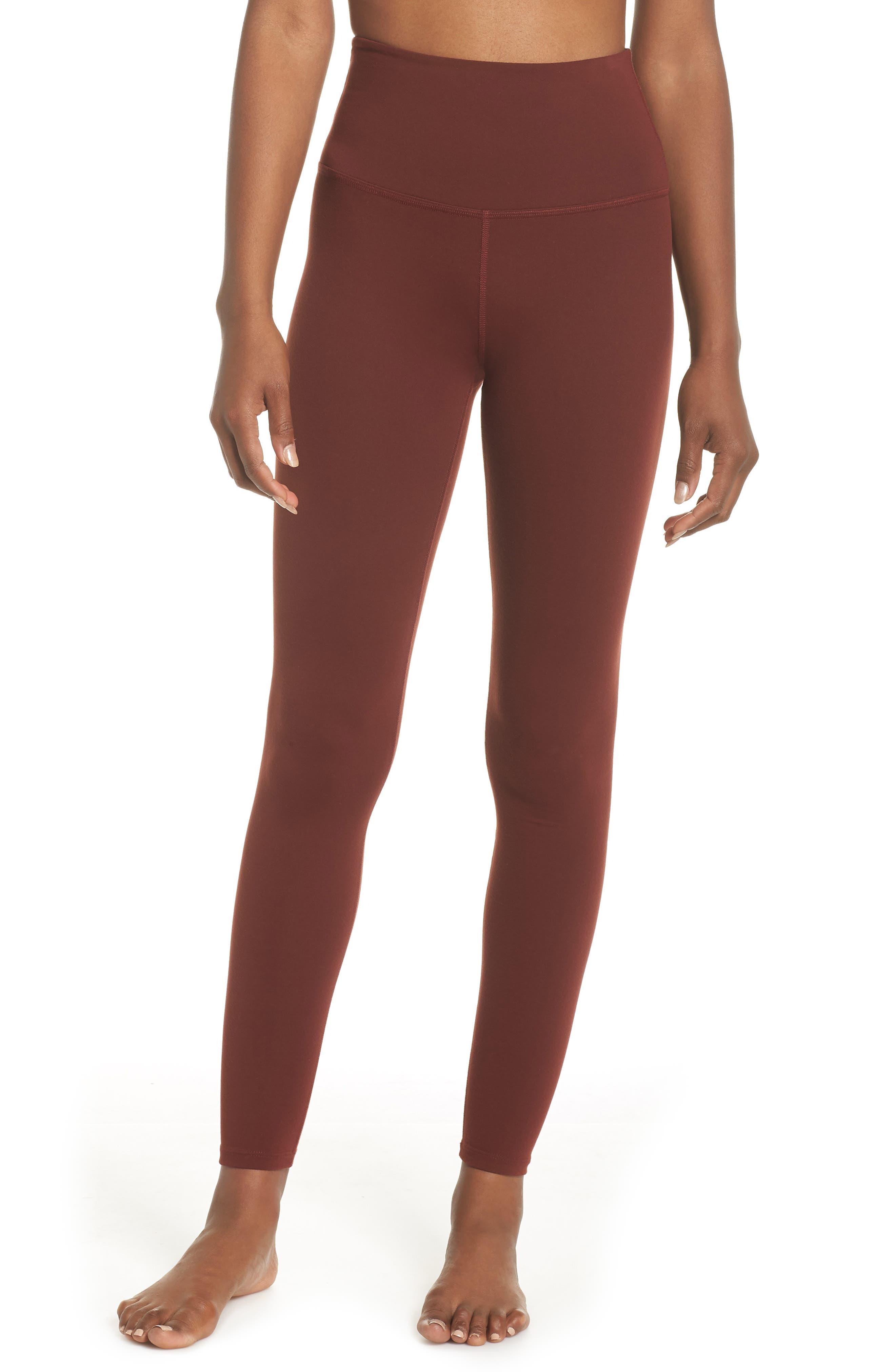 High Waist Leggings,                         Main,                         color, RED ROCK
