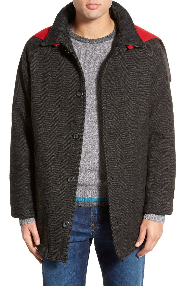 03b6e25f432 WOOLRICH  Mill  Water Resistant Herringbone Wool Blend Car Coat with  Detachable Hood