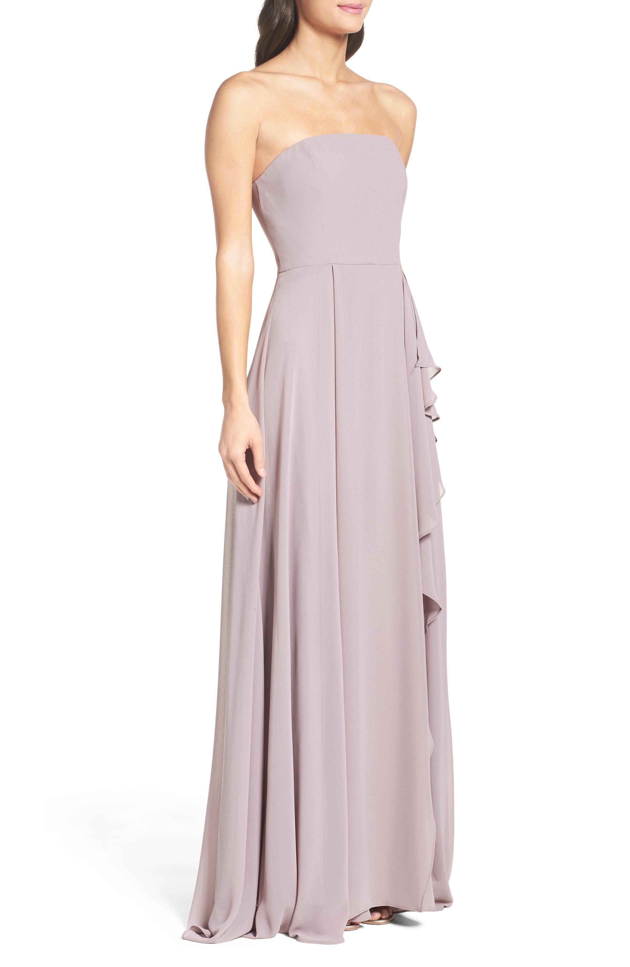 Chiffon Strapless Maxi Dress,                             Alternate thumbnail 3, color,                             020