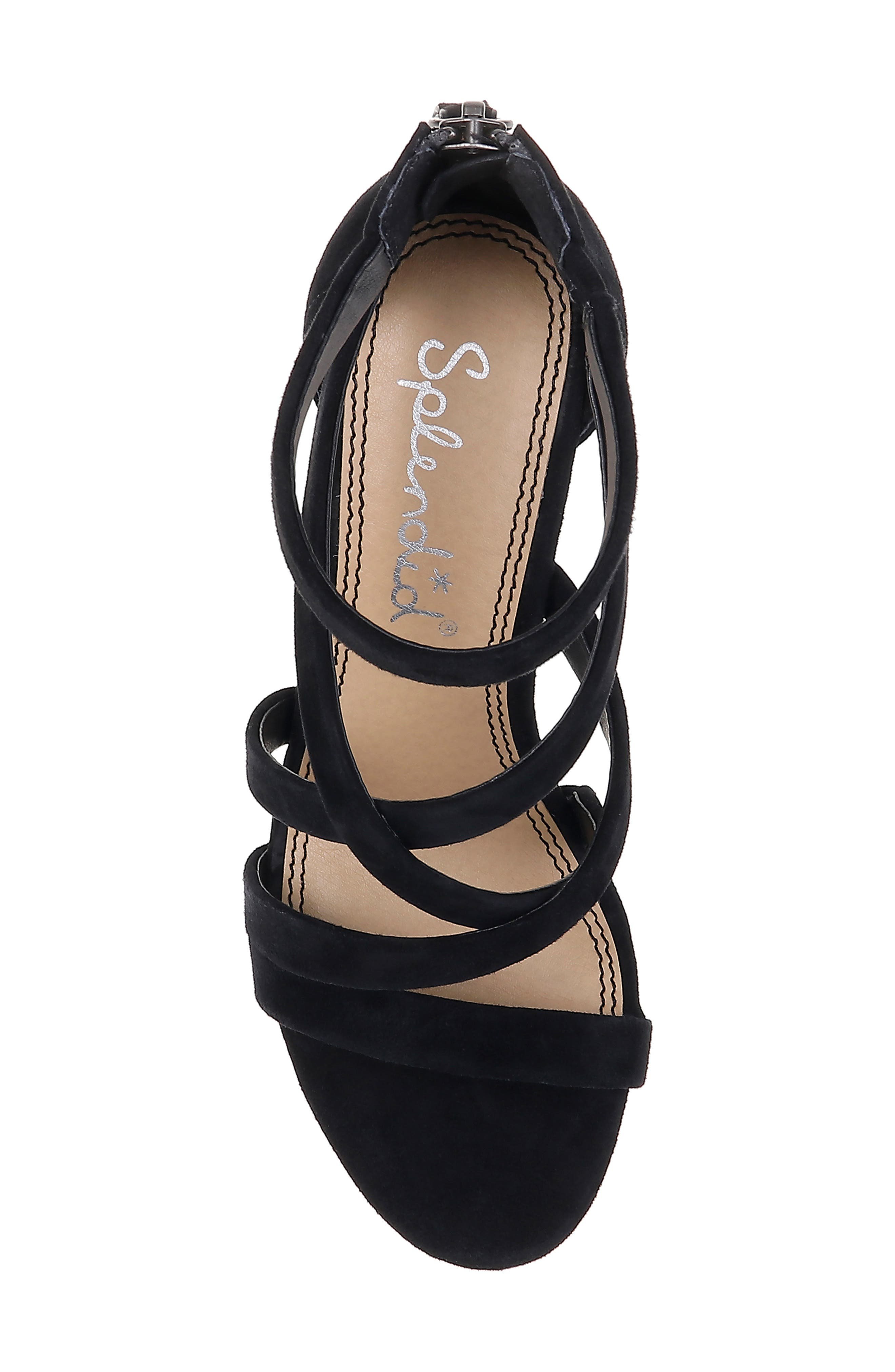 Stuart Block Heel Sandal,                             Alternate thumbnail 5, color,                             BLACK SUEDE