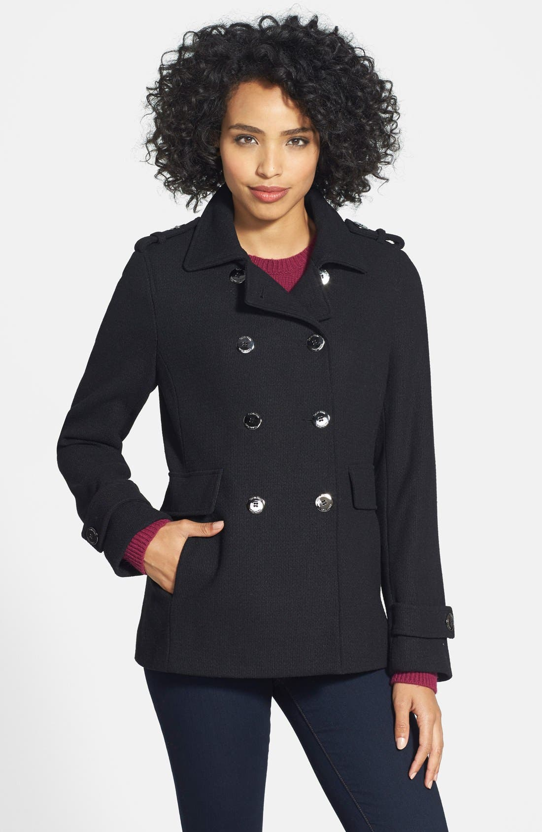 Wool Blend Knit Peacoat,                             Main thumbnail 1, color,                             001