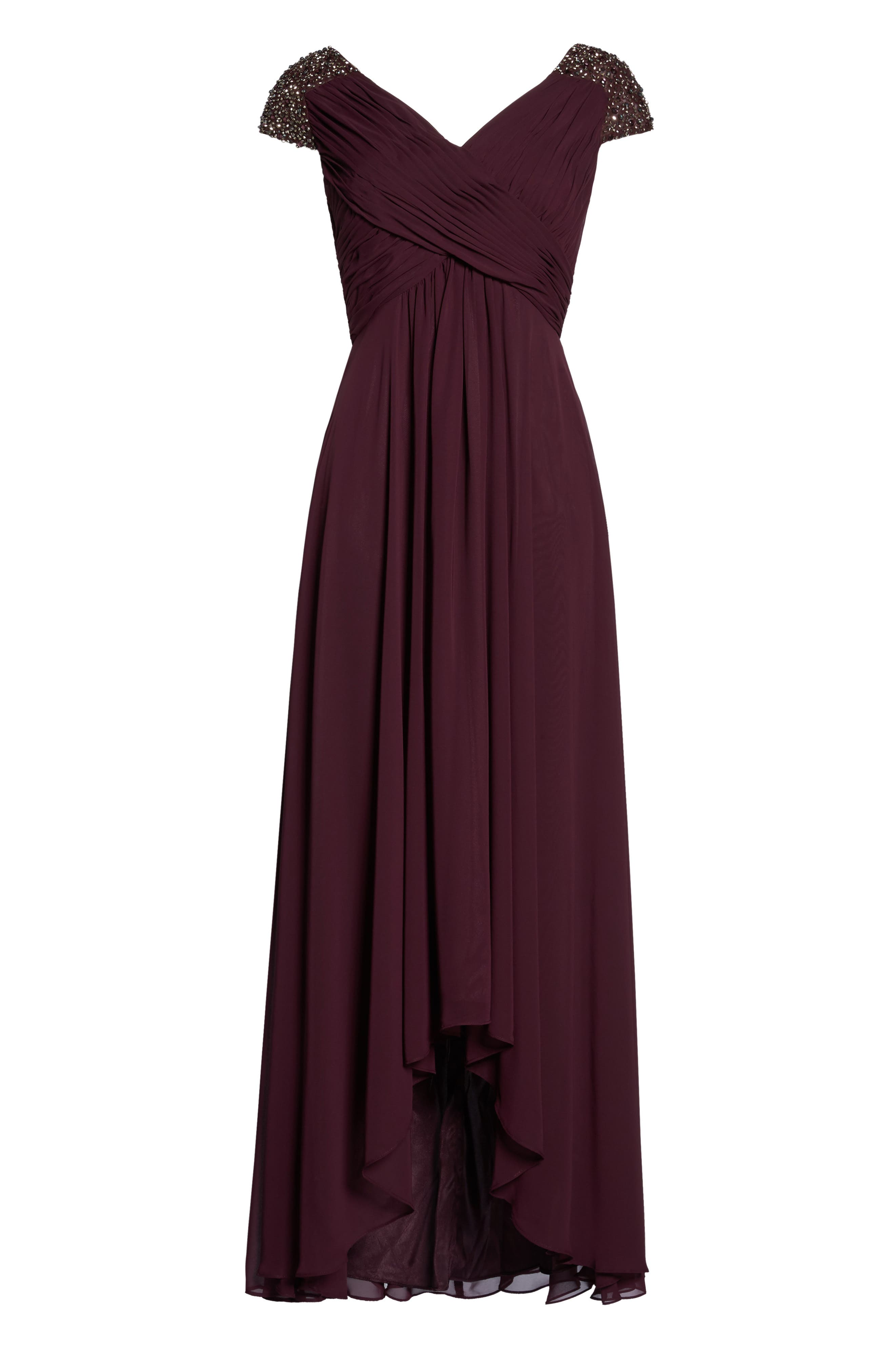 Embellished Pleated Chiffon Gown,                             Alternate thumbnail 17, color,