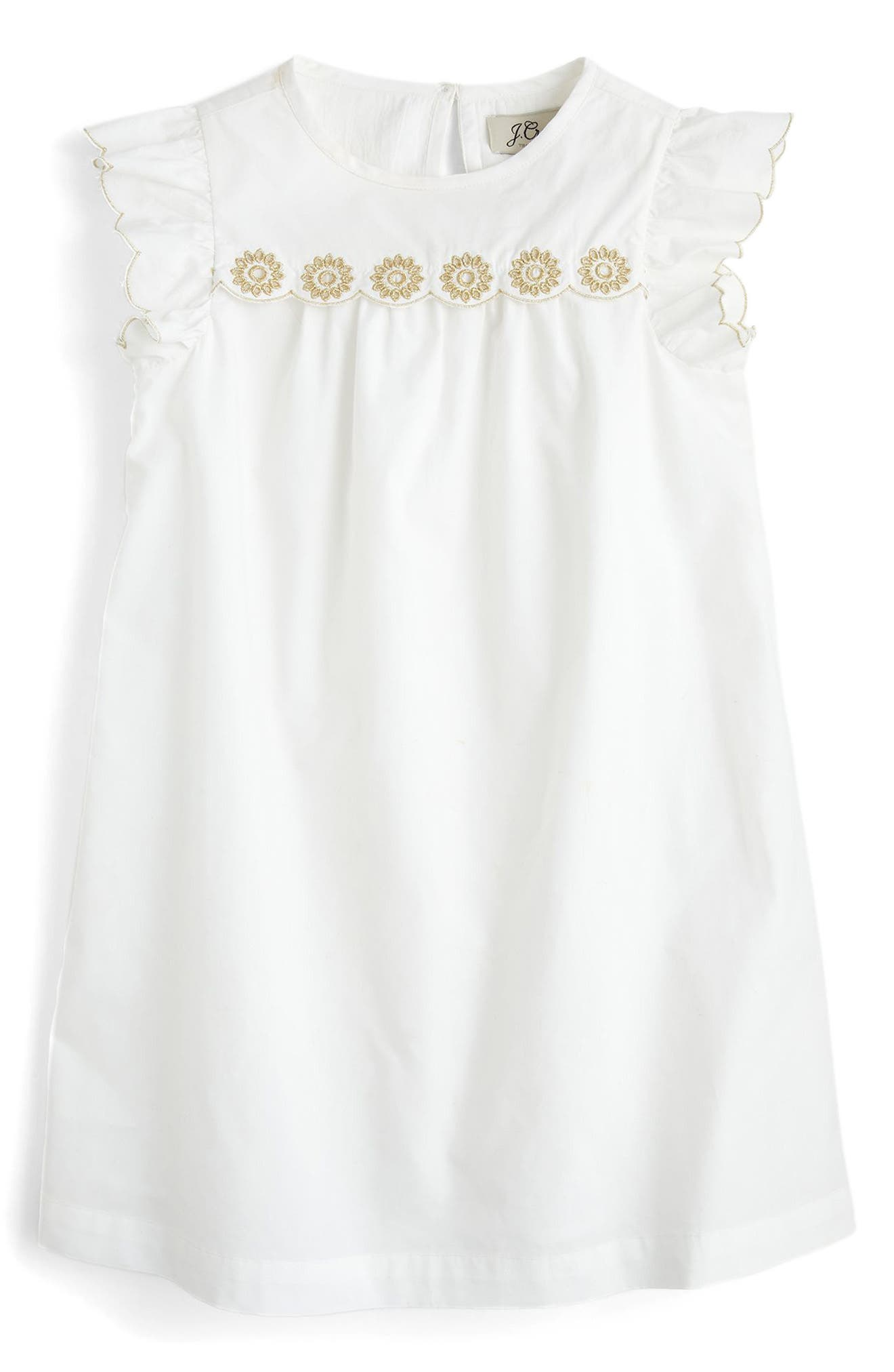 Floral Embroidered Shift Dress,                             Main thumbnail 1, color,                             100