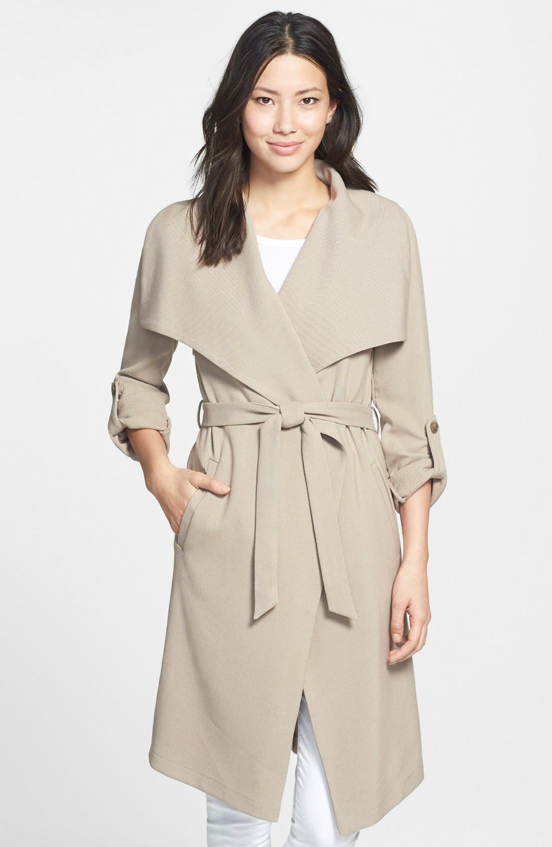 Roll Sleeve Drape Front Long Trench Coat,                             Main thumbnail 5, color,