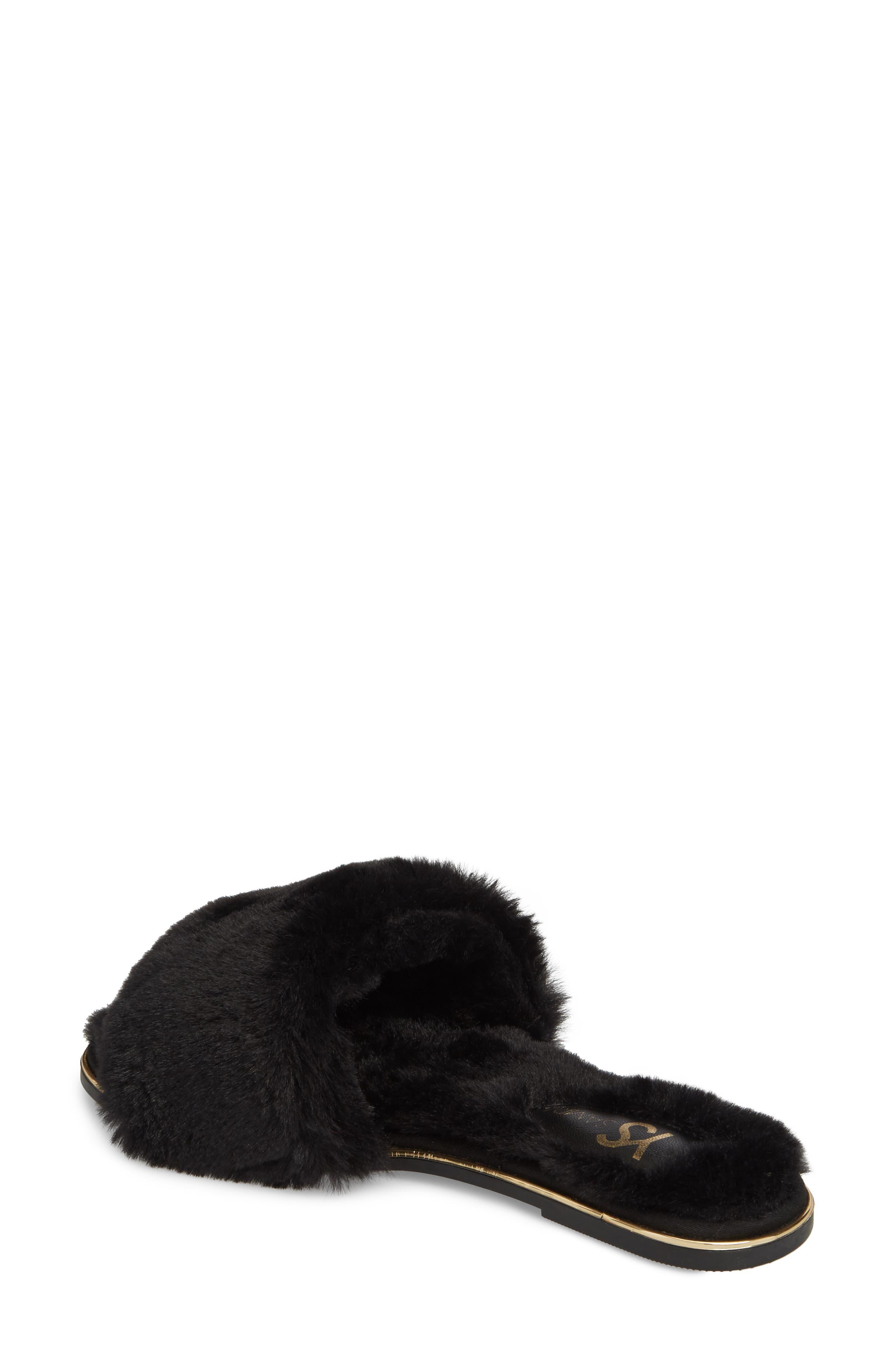 Rose Faux Fur Slide Sandal,                             Alternate thumbnail 2, color,                             BLACK FAUX FUR