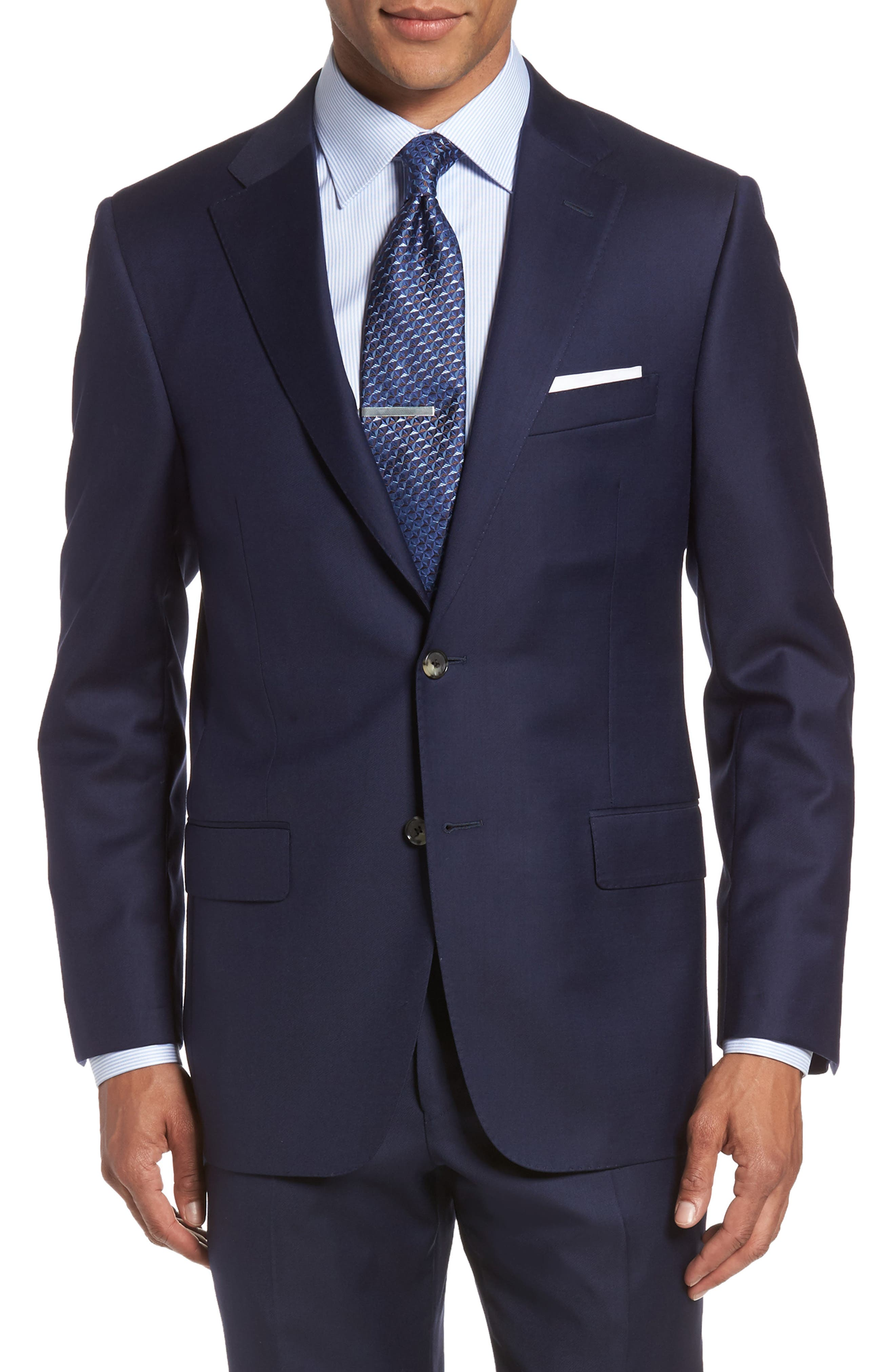 Classic B Fit Loro Piana Wool Suit,                             Alternate thumbnail 5, color,                             NAVY