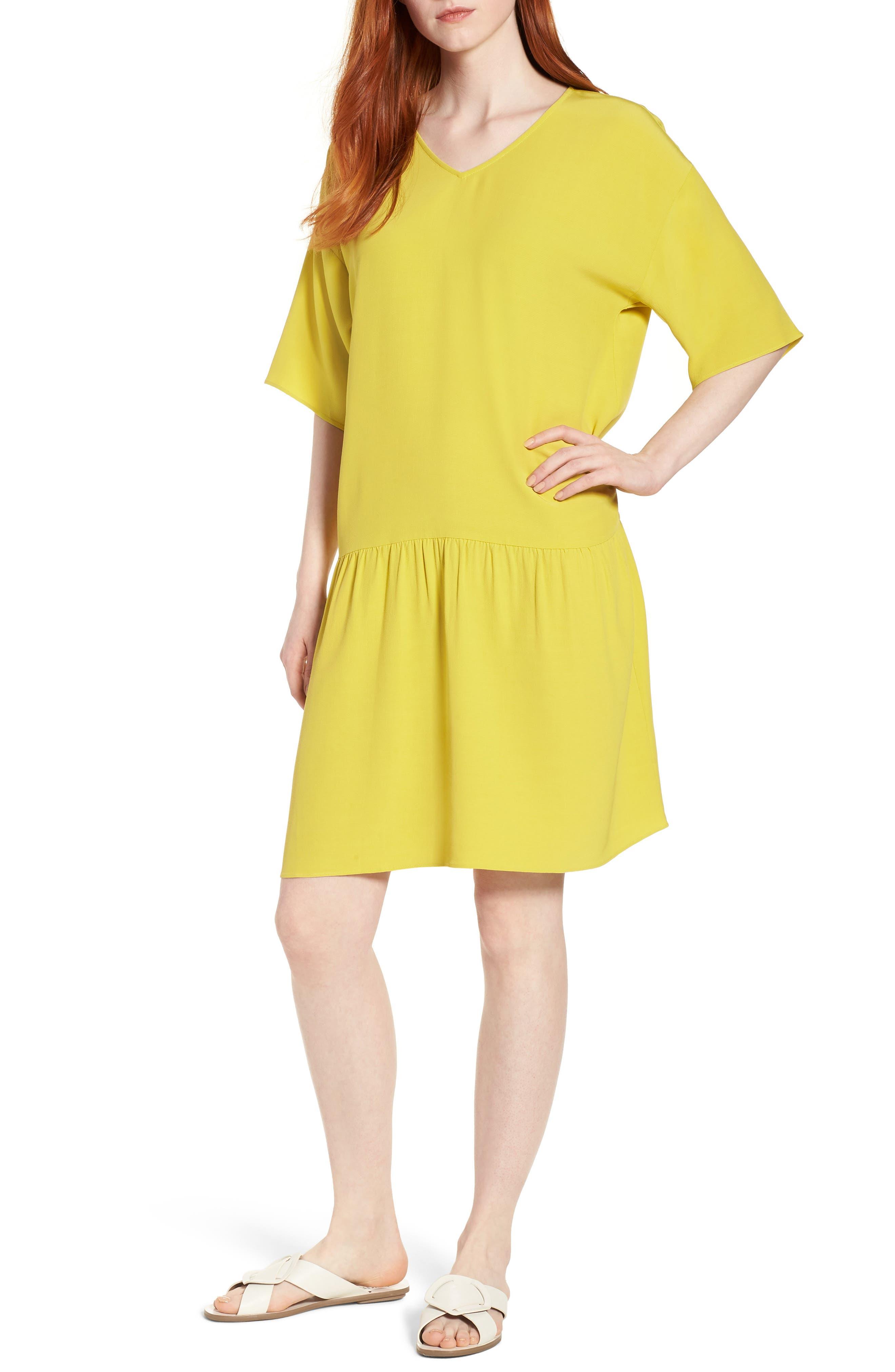 Drop Waist Tencel<sup>®</sup> Lyocell Blend Dress,                             Main thumbnail 4, color,