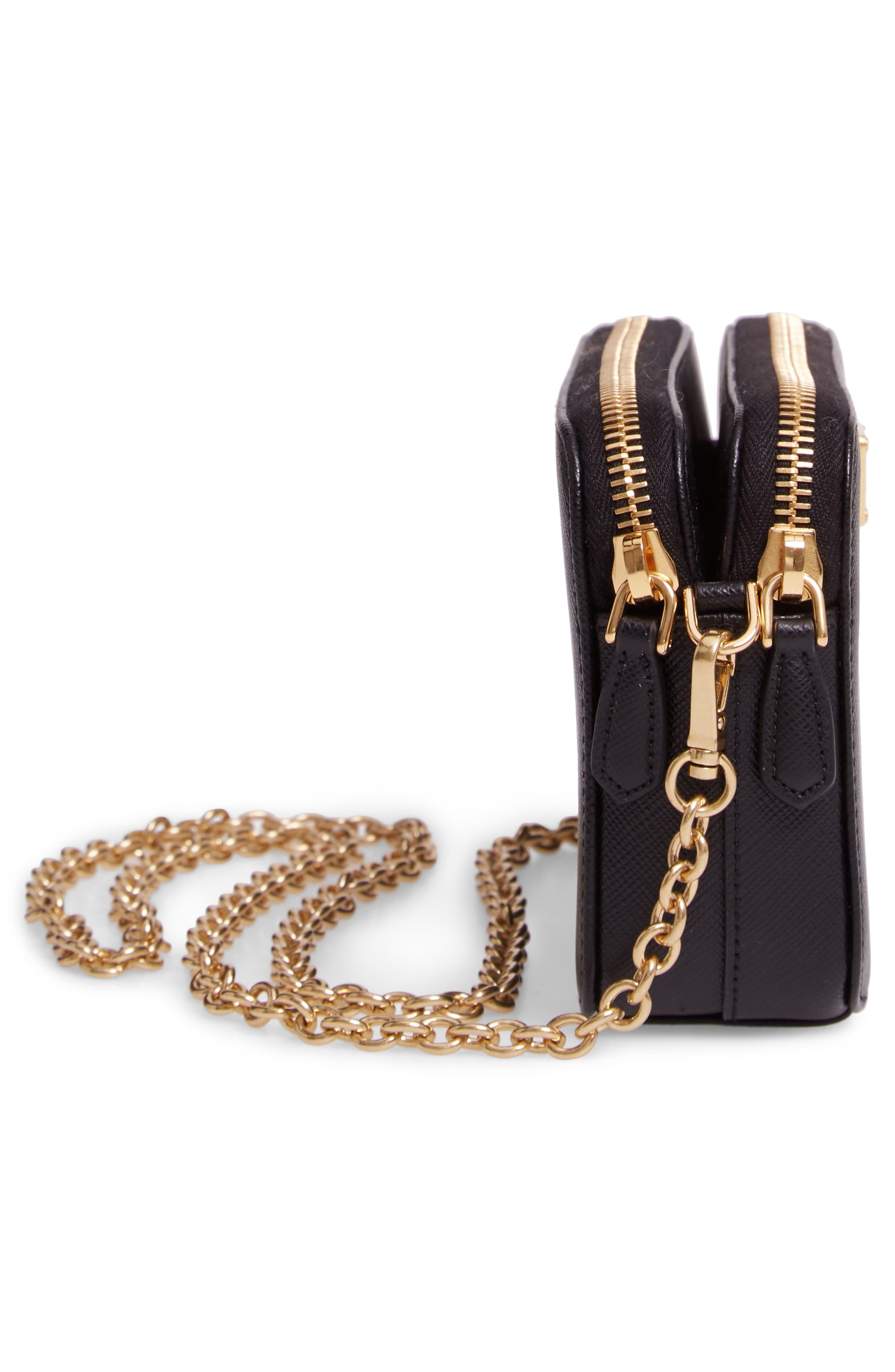 Small Double Compartment Zip Saffiano Leather Crossbody Bag,                             Alternate thumbnail 5, color,                             NERO
