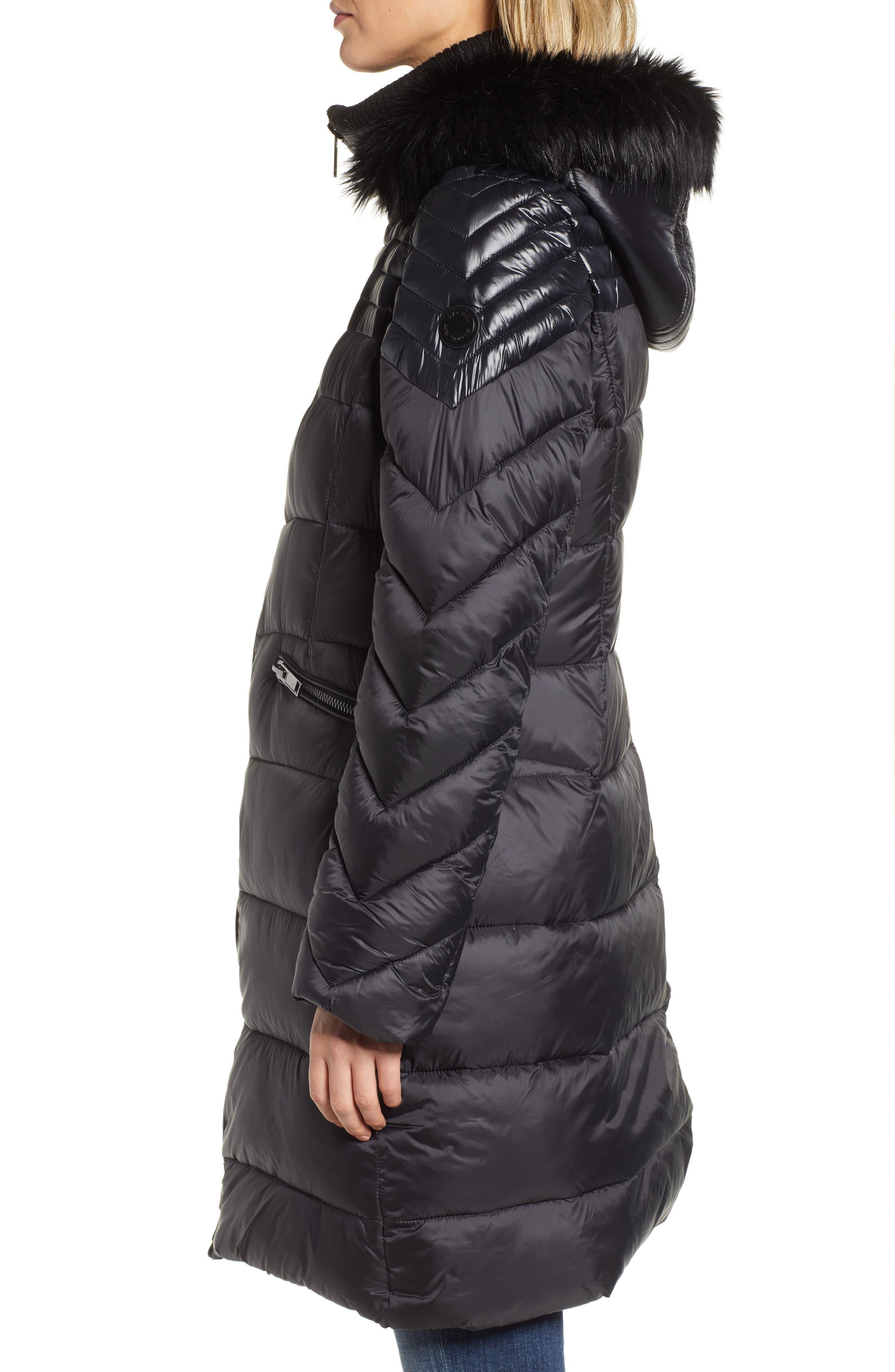 RACHEL RACHEL ROY,                             Faux Fur Detail Water Resistant Puffer Coat,                             Alternate thumbnail 4, color,                             BLACK
