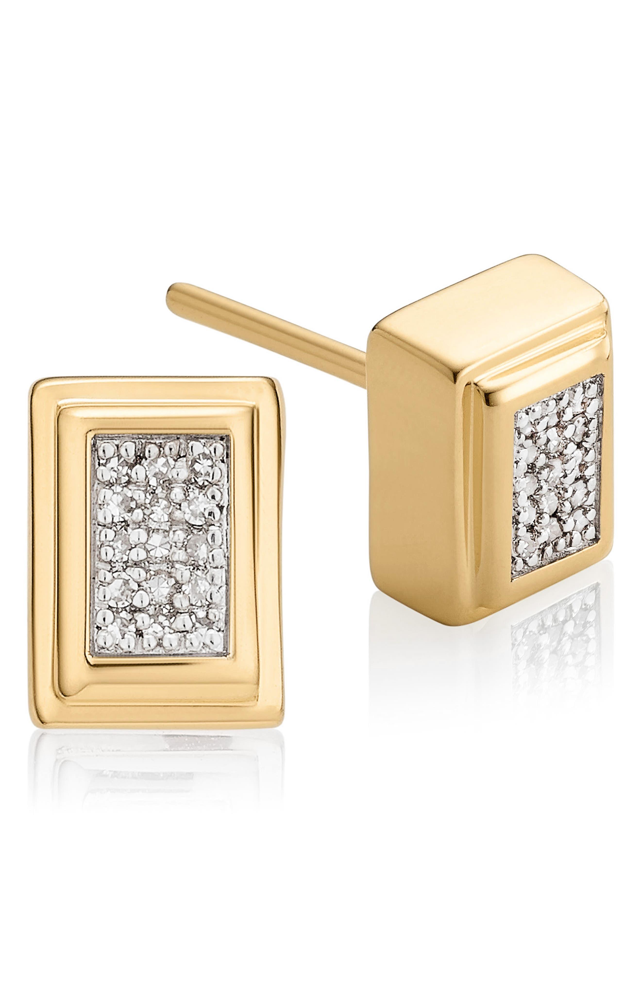 Baja Deco Diamond Stud Earrings,                             Main thumbnail 1, color,                             YELLOW GOLD