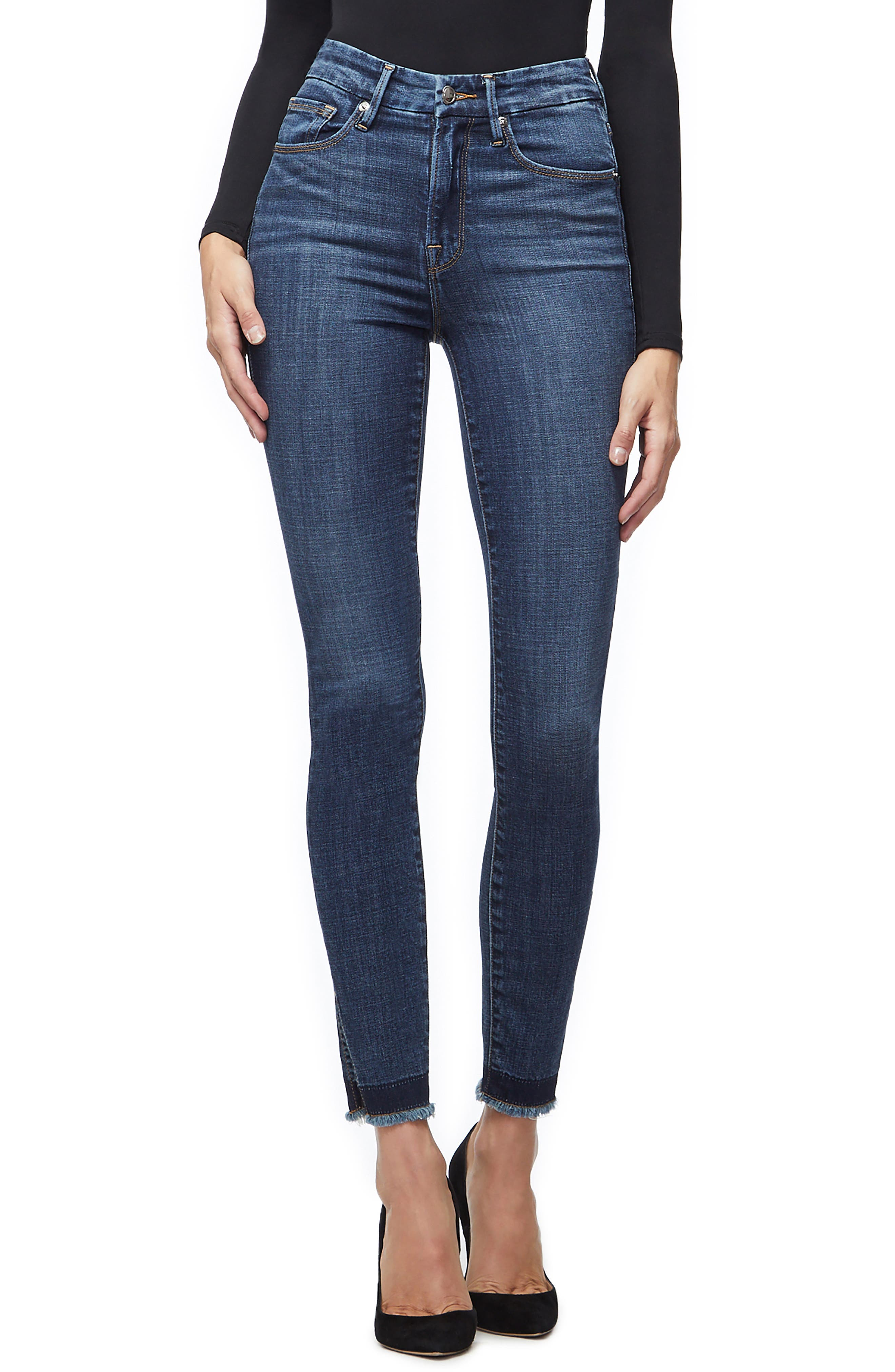 GOOD AMERICAN Good Waist Ankle Skinny Jeans, Main, color, BLUE220