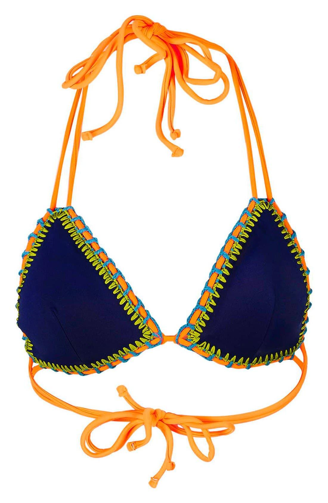 TOPSHOP,                             Crochet Trim Triangle Bikini Top,                             Alternate thumbnail 2, color,                             400