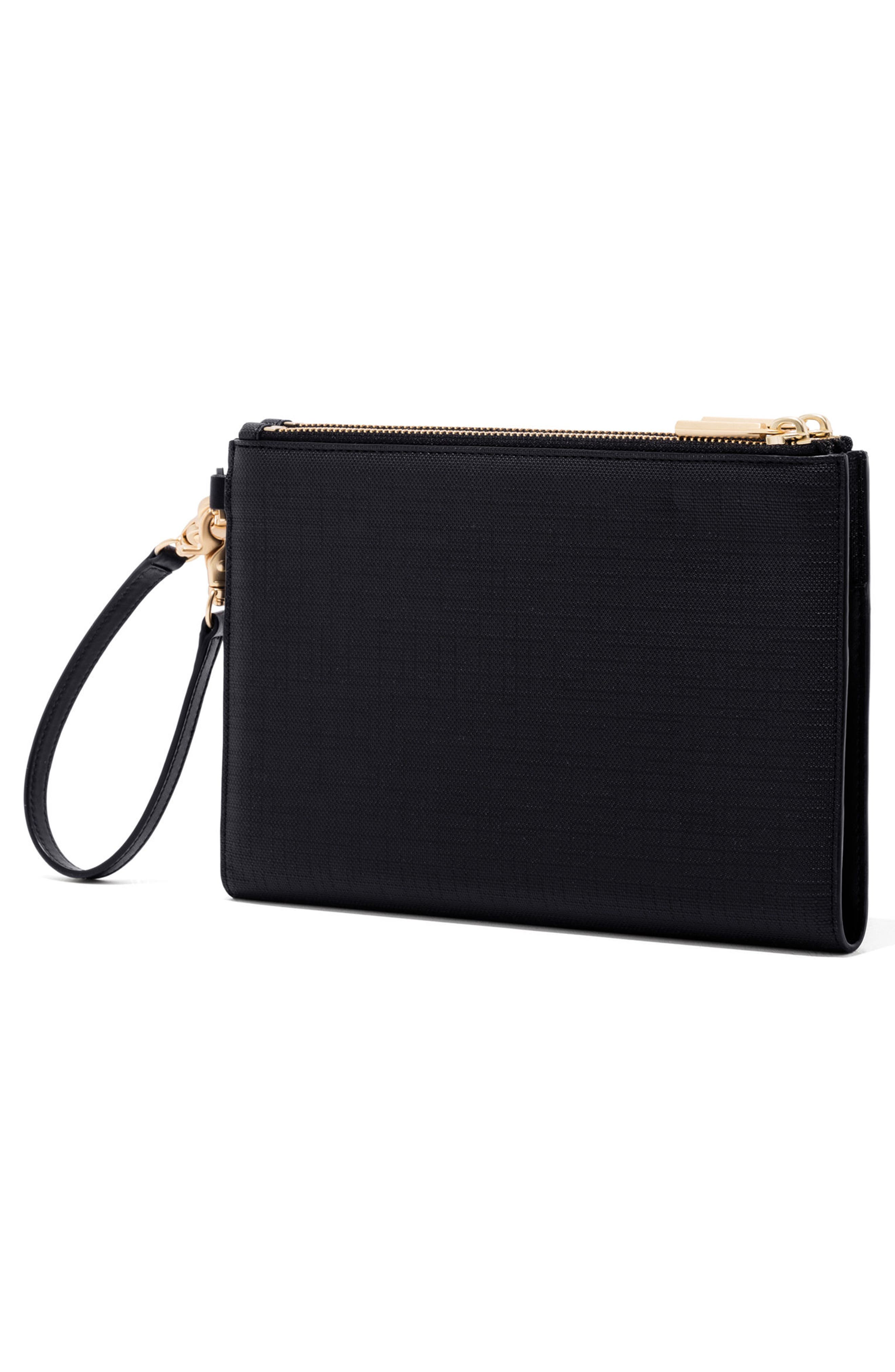 Signature Essentials Coated Canvas Clutch/Wallet,                             Alternate thumbnail 4, color,                             ONYX