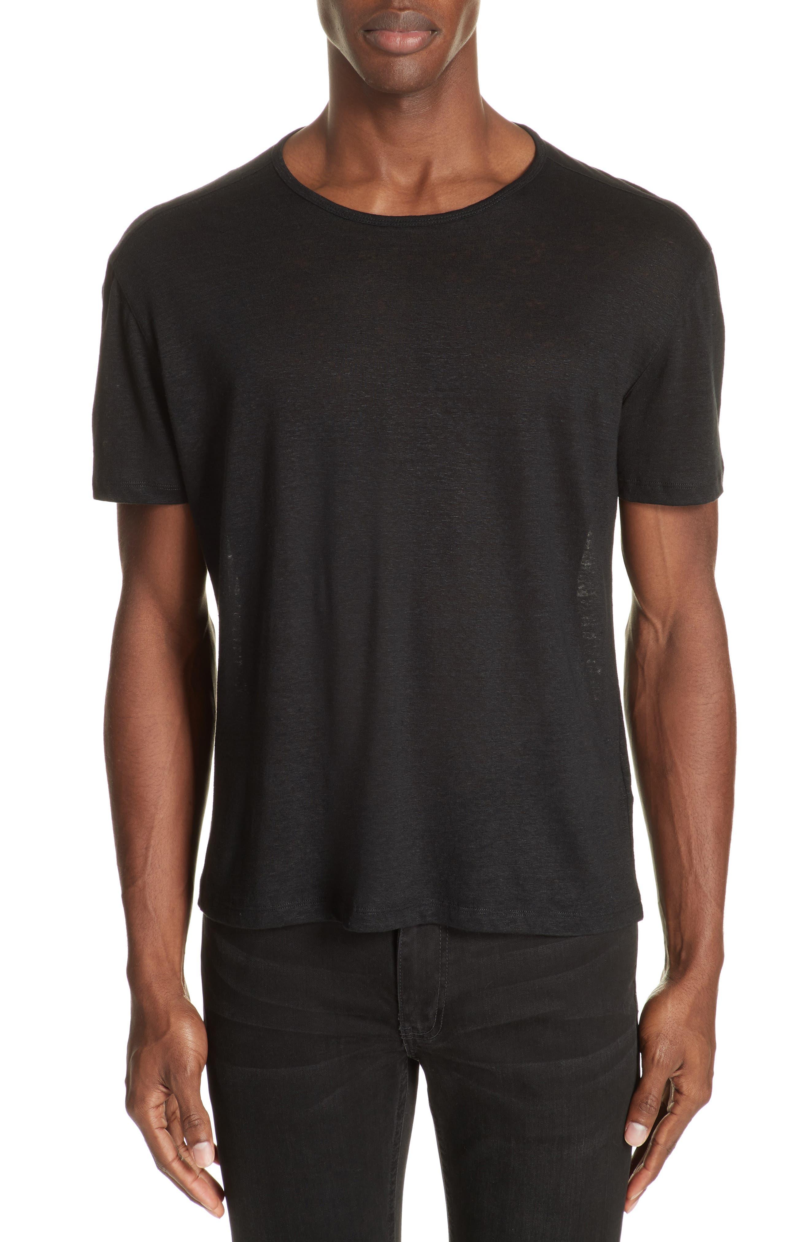 Linen Crewneck T-Shirt,                         Main,                         color, BLACK