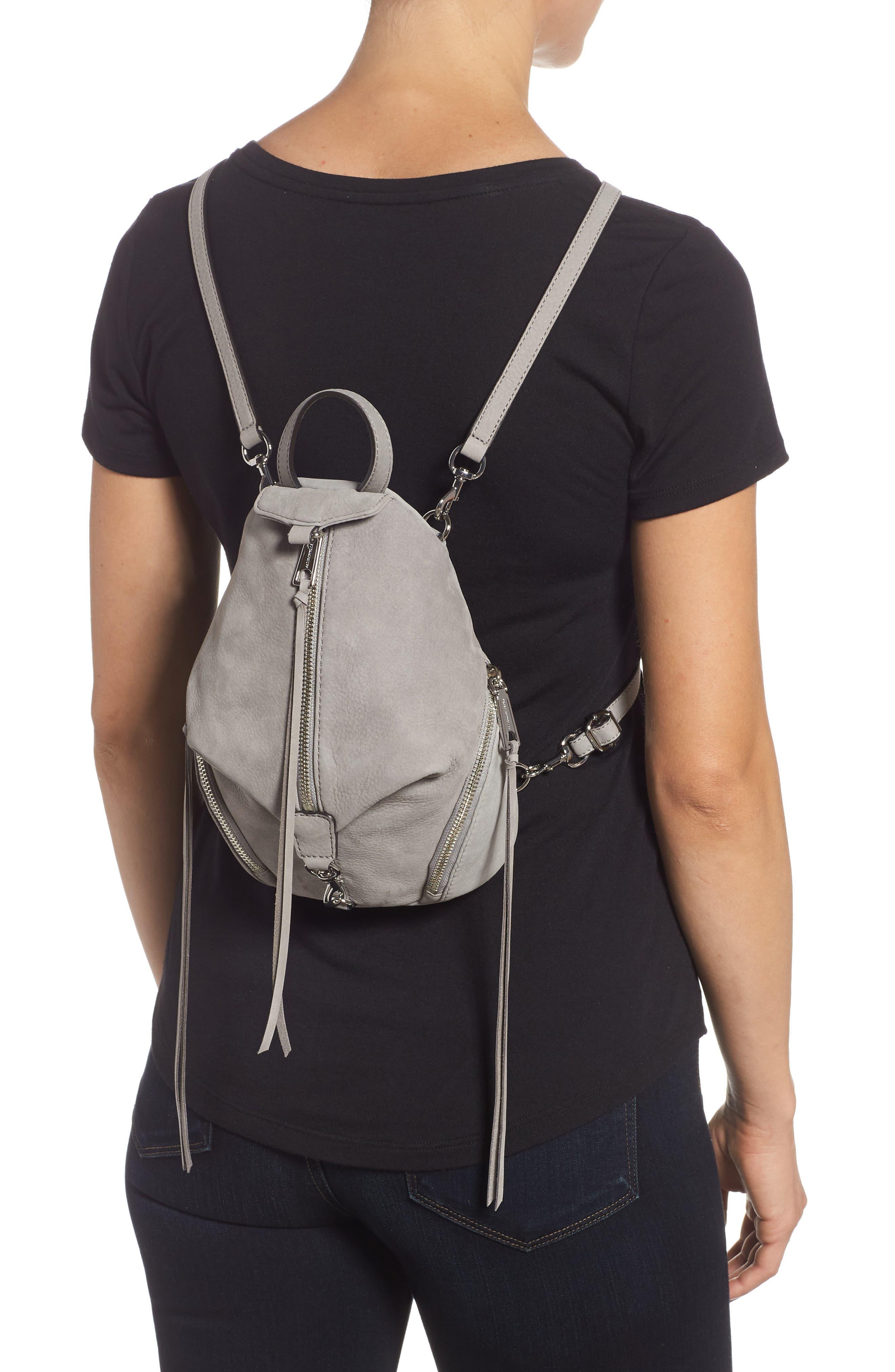 Mini Julian Nubuck Leather Convertible Backpack,                             Alternate thumbnail 2, color,                             GREY