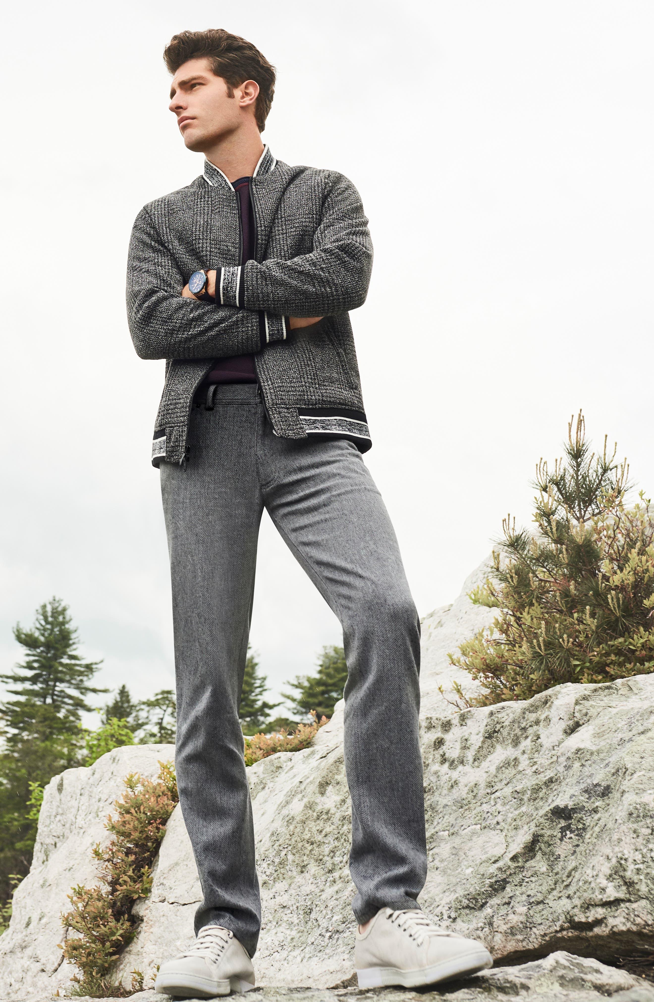 Slim Fit Plaid Knit Bomber Jacket,                             Alternate thumbnail 8, color,                             CHARCOAL PLAID