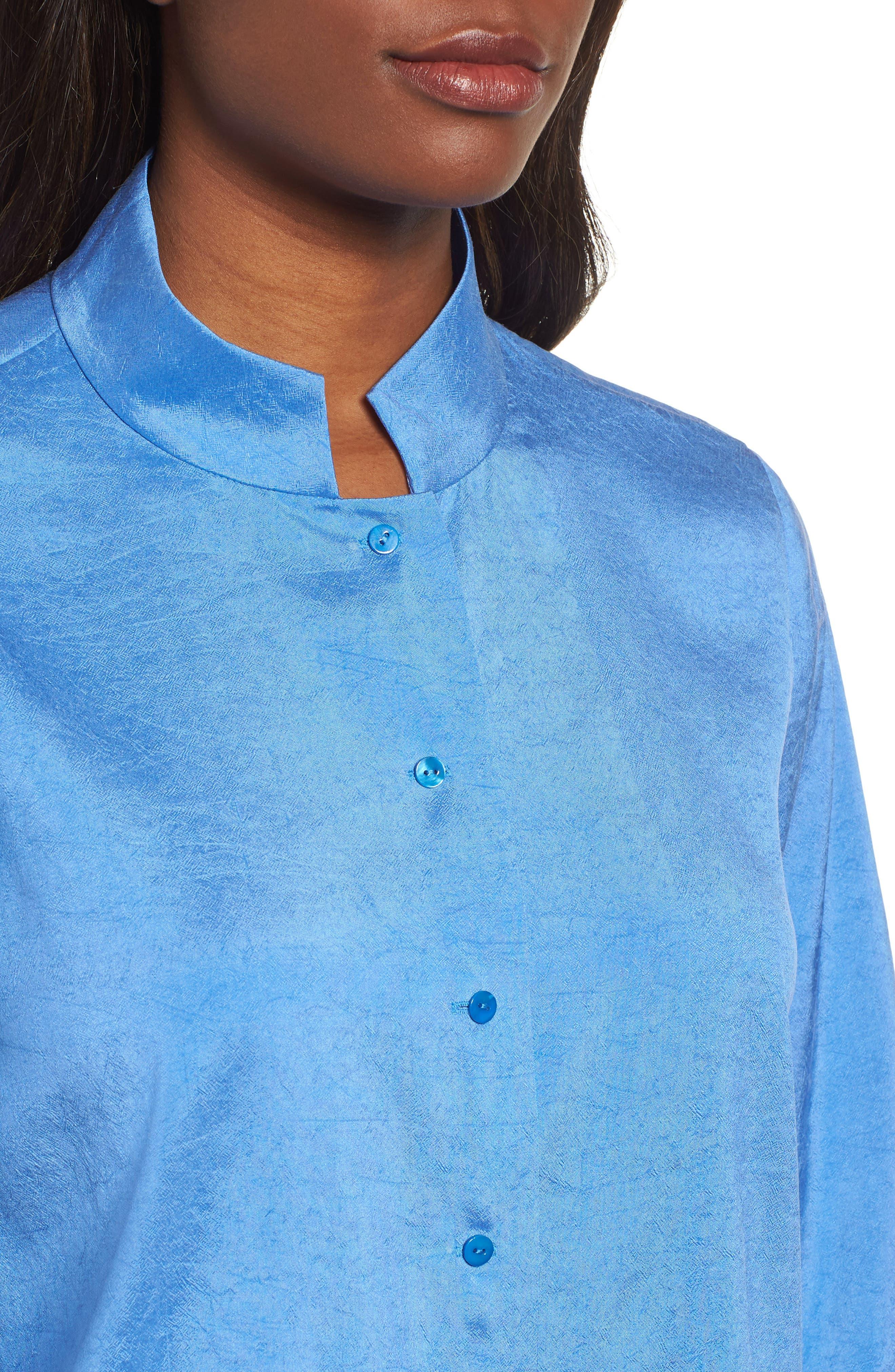 Crinkled Satin Silk Shirt,                             Alternate thumbnail 4, color,                             405