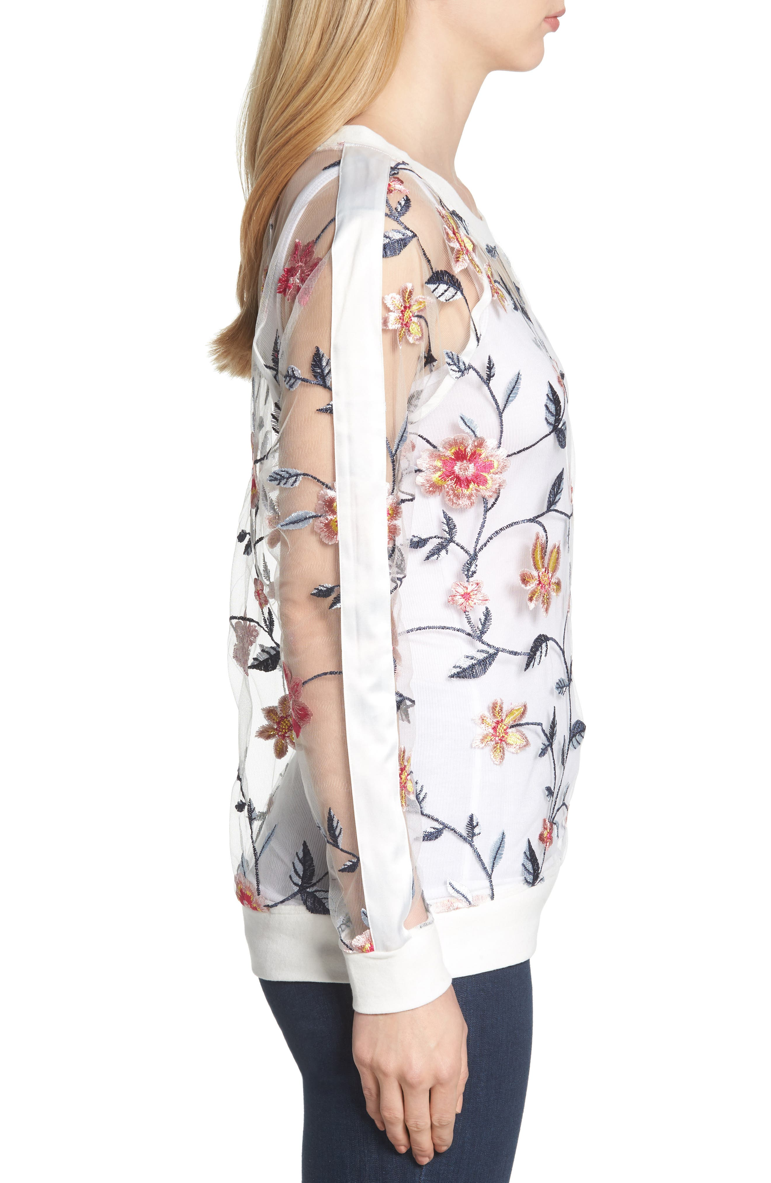 BILLY T,                             Sheer Mesh Embroidered Sweatshirt,                             Alternate thumbnail 3, color,                             100