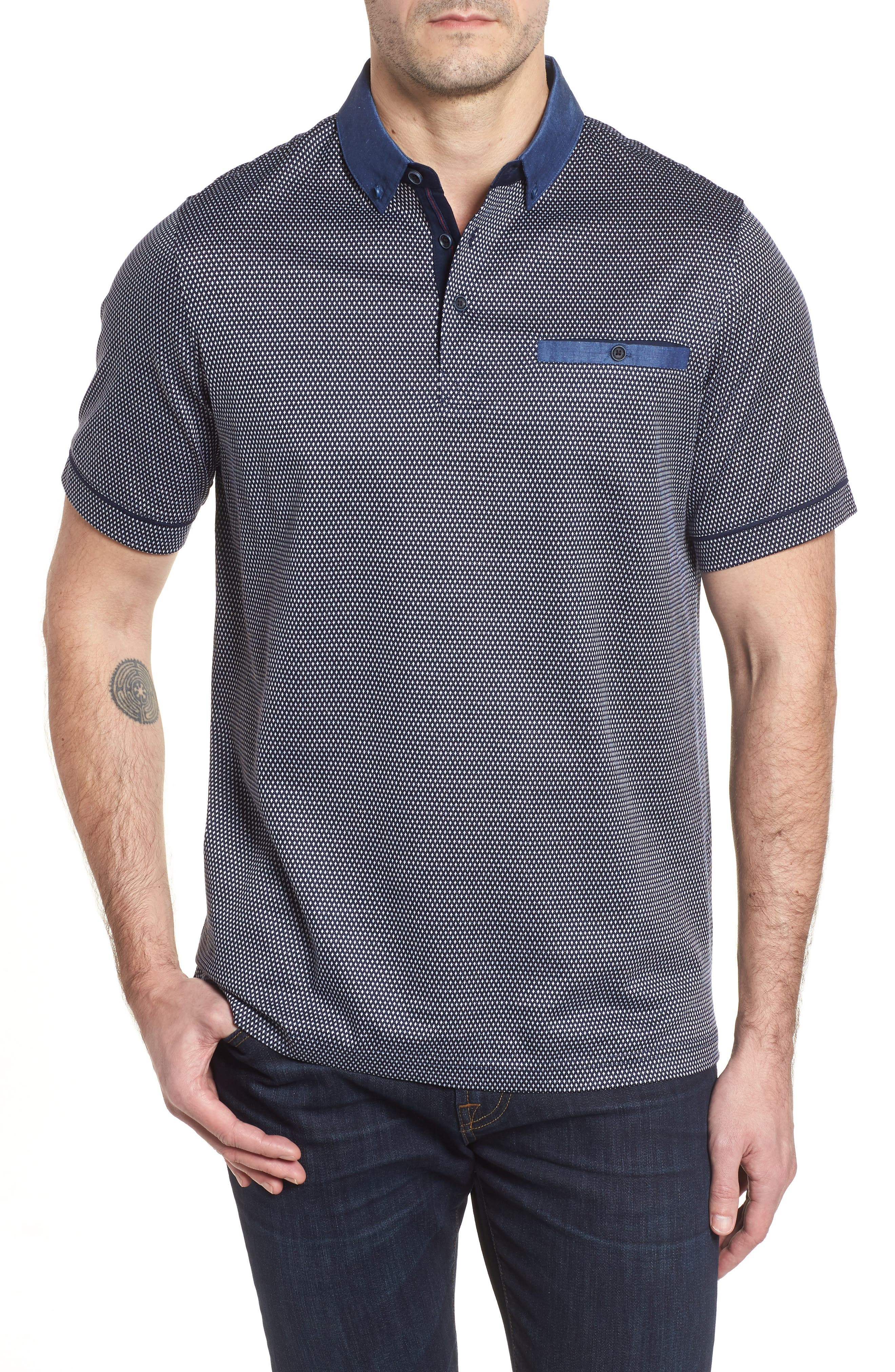 Regular Fit Knit Polo,                         Main,                         color, NAVY