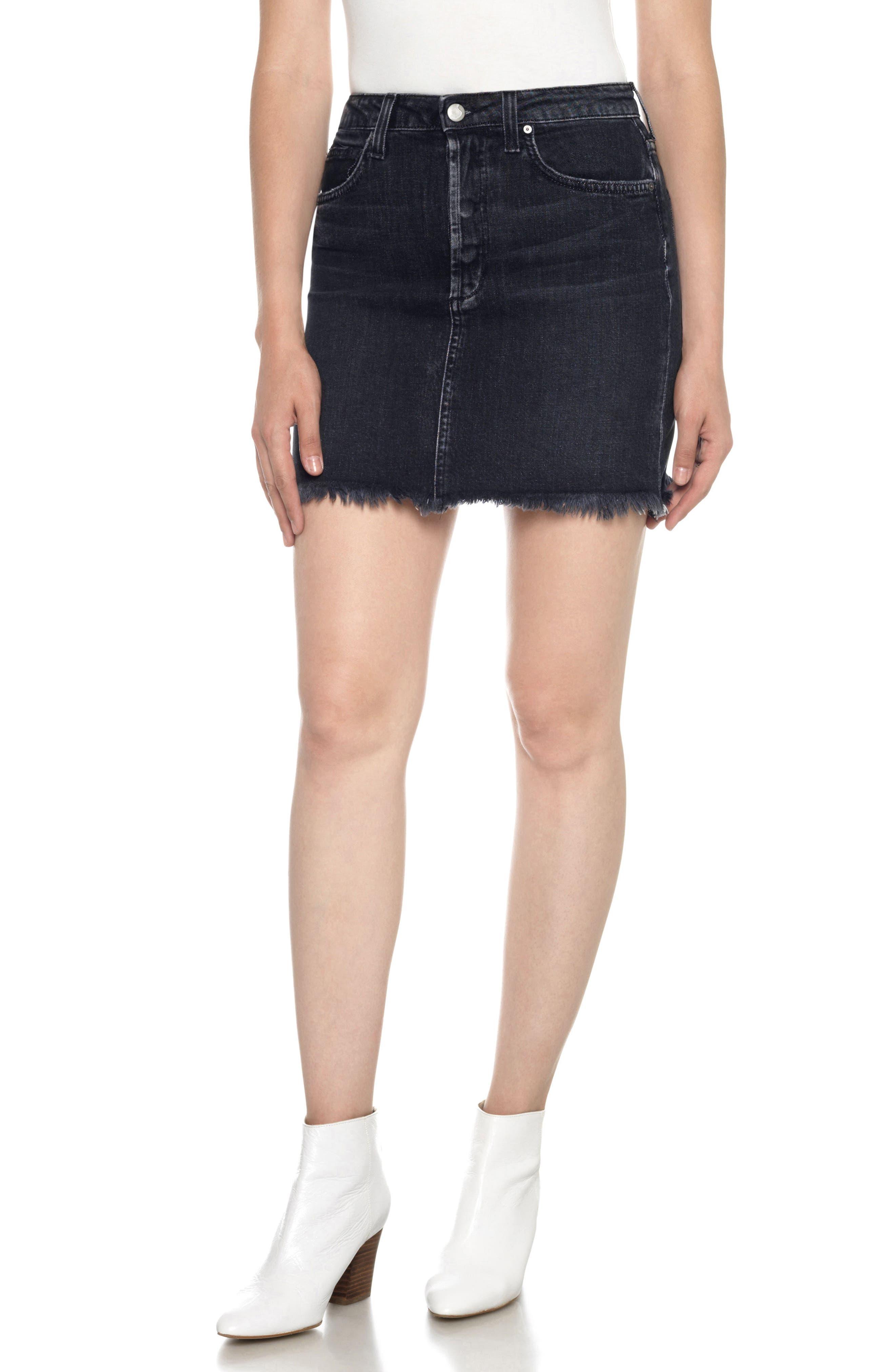 Classics High Waist Cutoff Denim Miniskirt,                         Main,                         color, 011