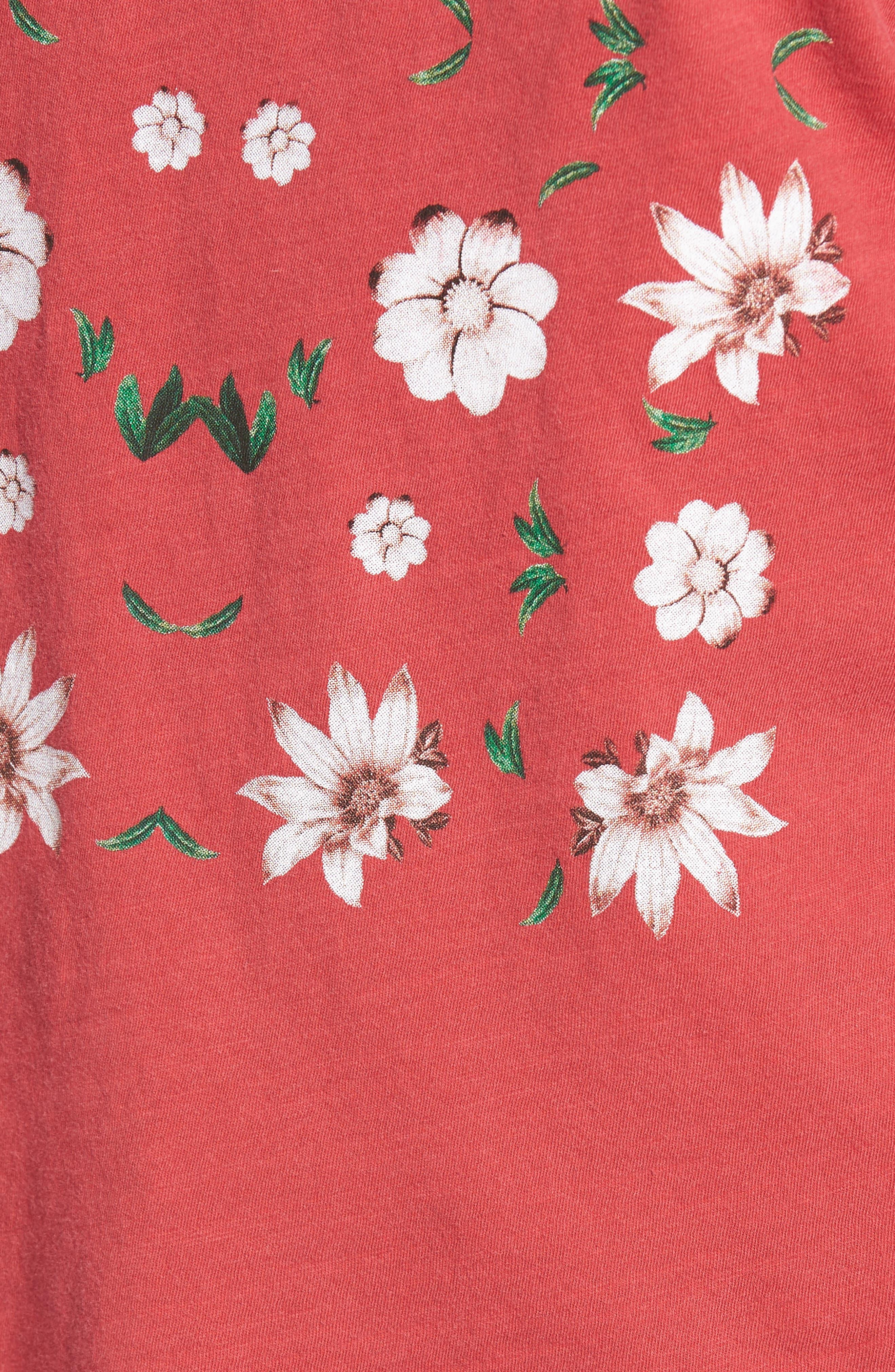 Flowers Distressed Tee,                             Alternate thumbnail 5, color,                             600