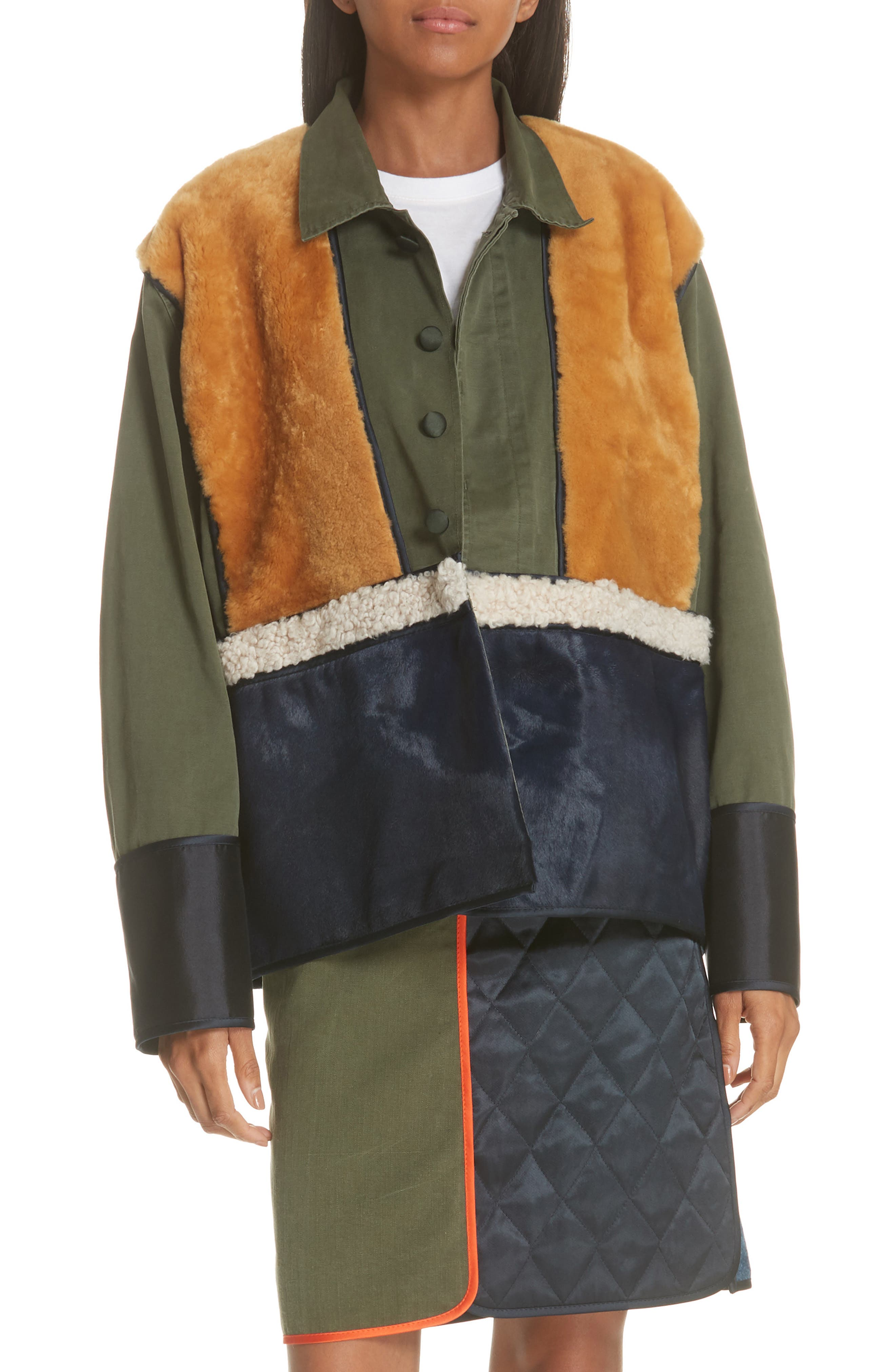 Harvey Faircloth Paneled Genuine Shearling Field Jacket, Green