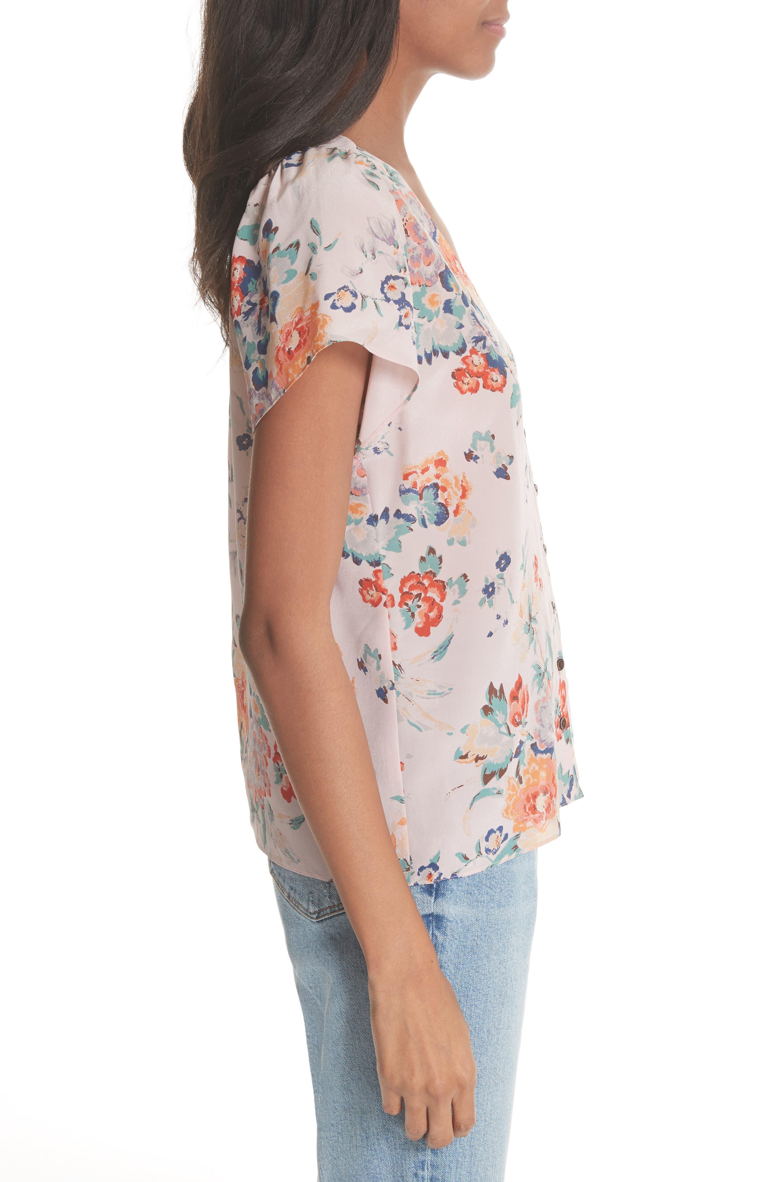 Marlena Floral Silk Blouse,                             Alternate thumbnail 3, color,