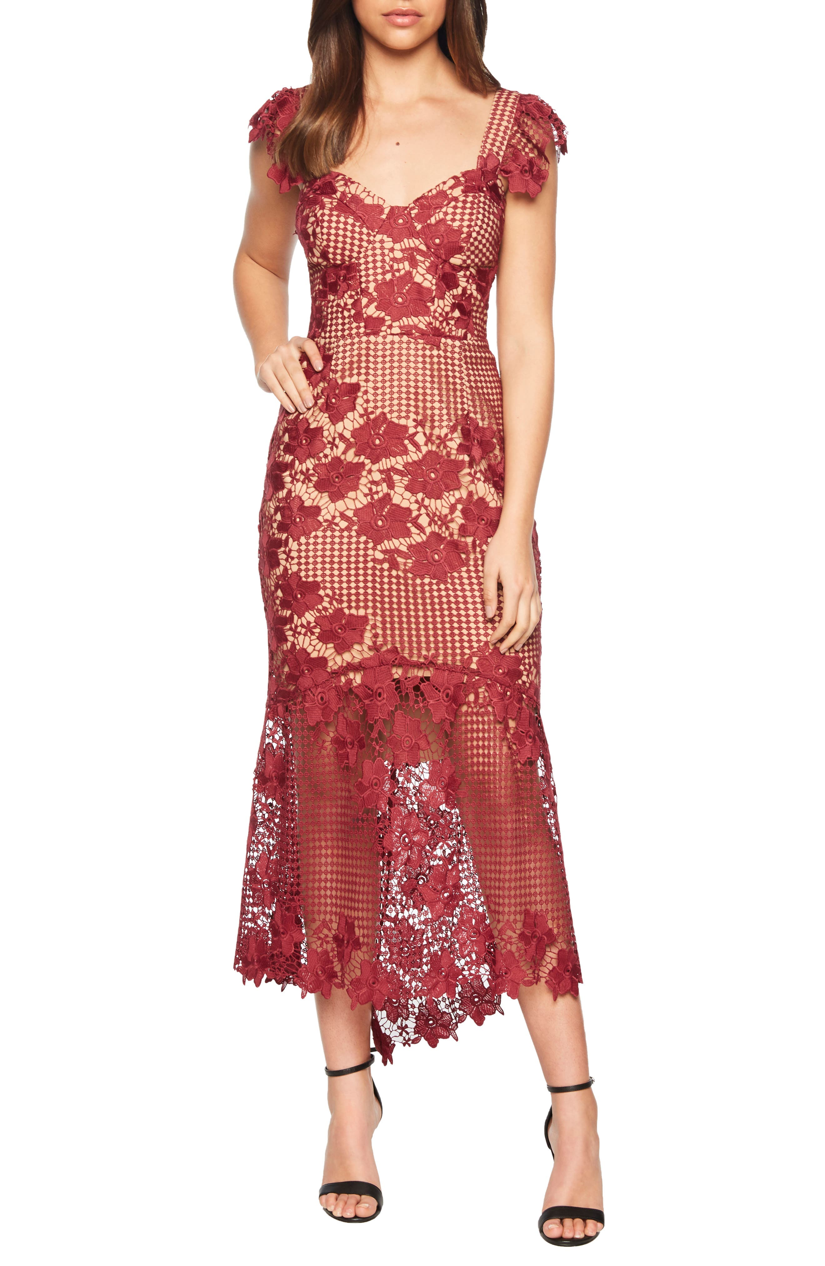 Bardot Lucy Lace Midi Dress