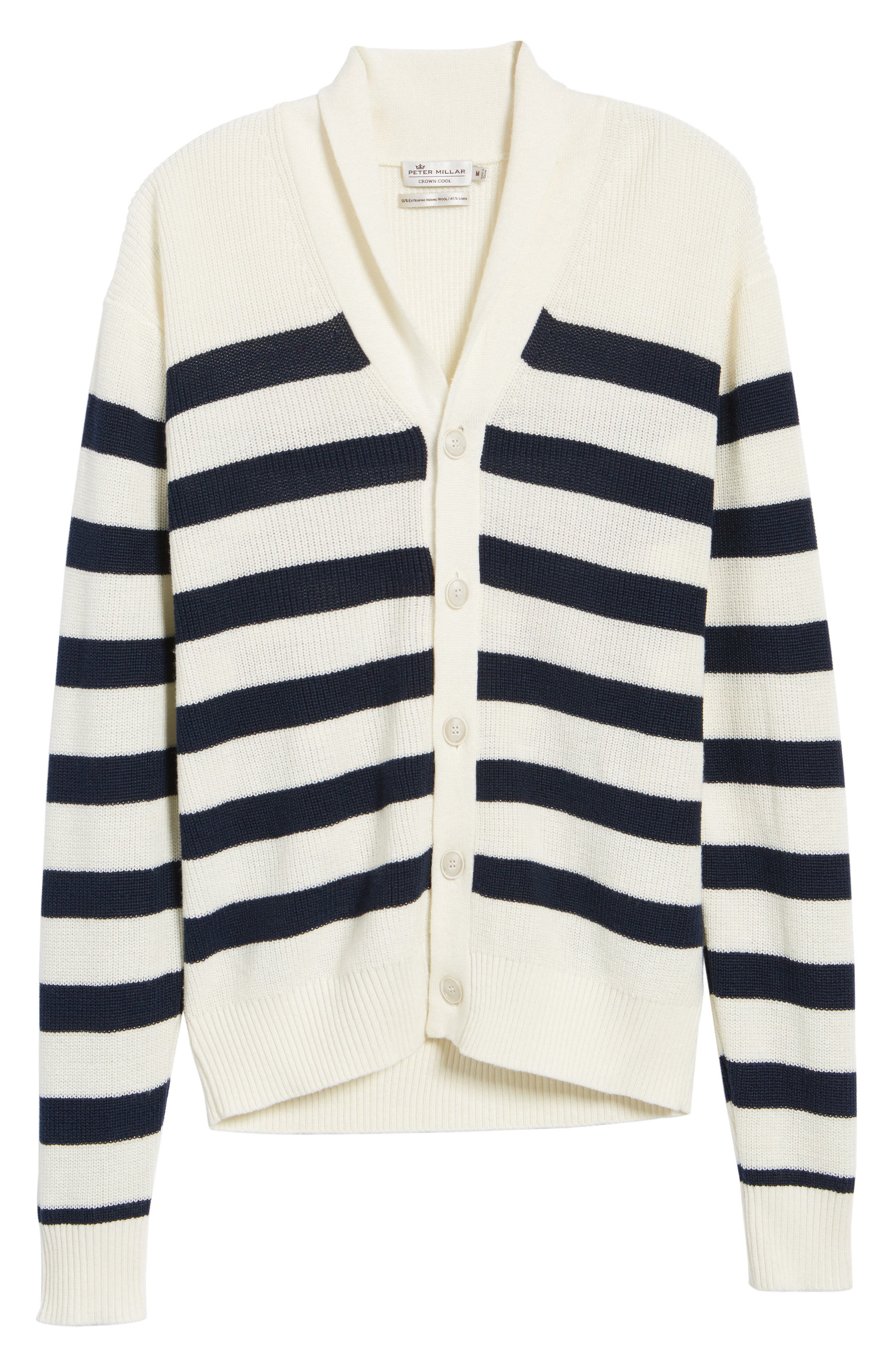 Crown Cool Sailor Stripe Merino Wool & Linen Cardigan,                             Alternate thumbnail 6, color,                             400