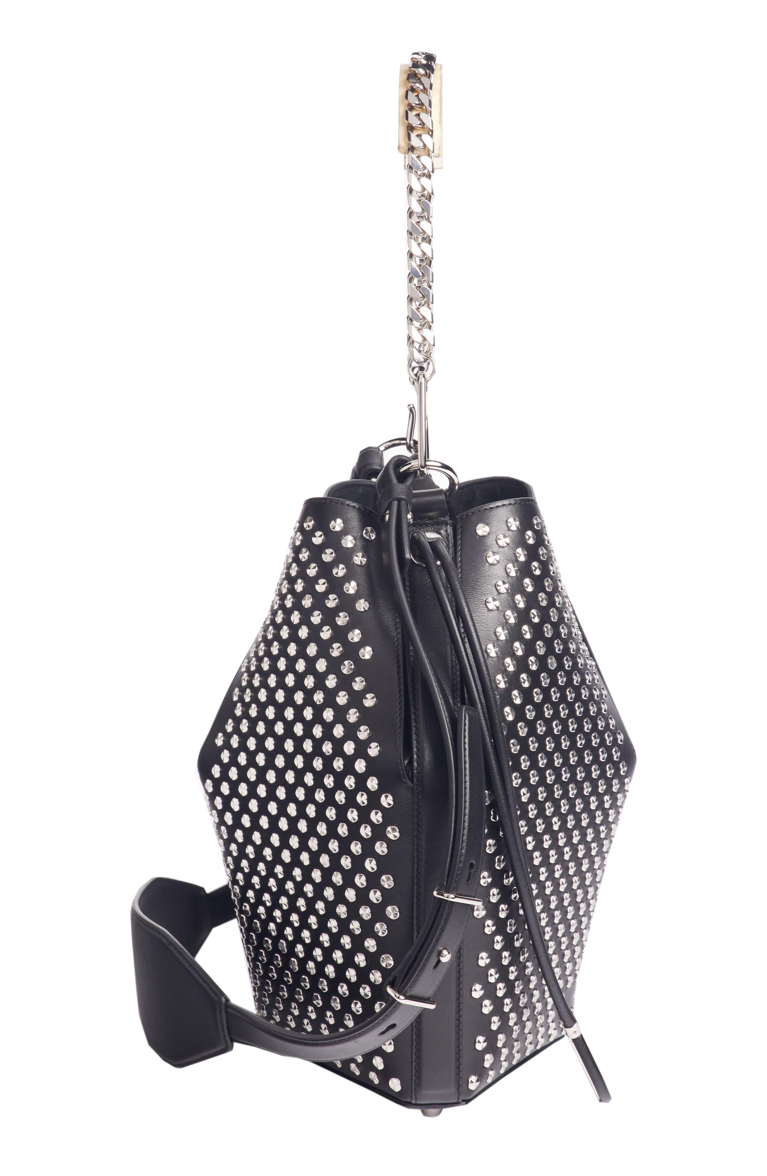 Studded Leather Bucket Bag,                             Alternate thumbnail 4, color,                             BLACK