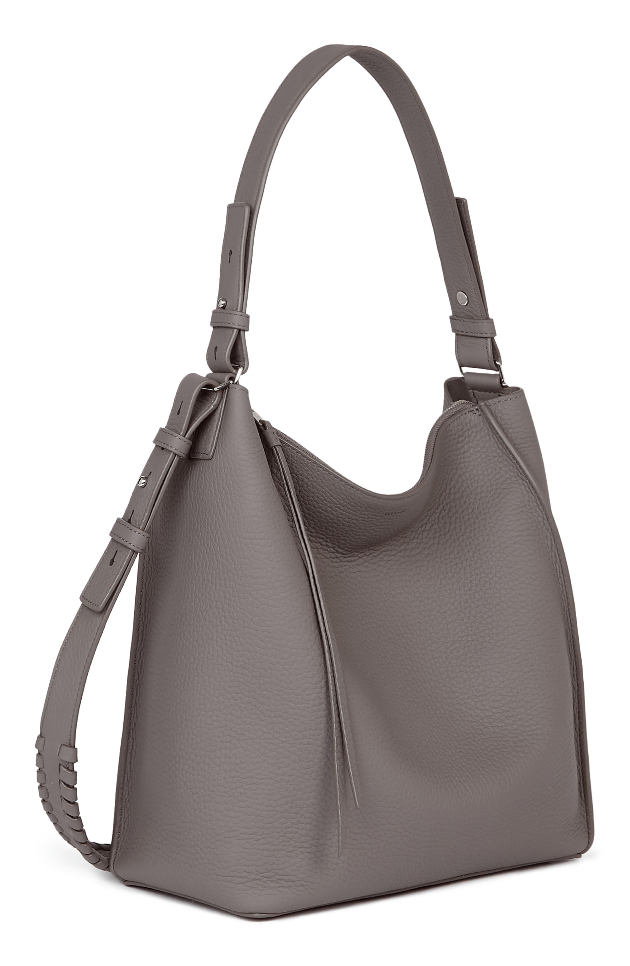 'Kita' Leather Shoulder/Crossbody Bag,                             Alternate thumbnail 5, color,                             STORM GREY