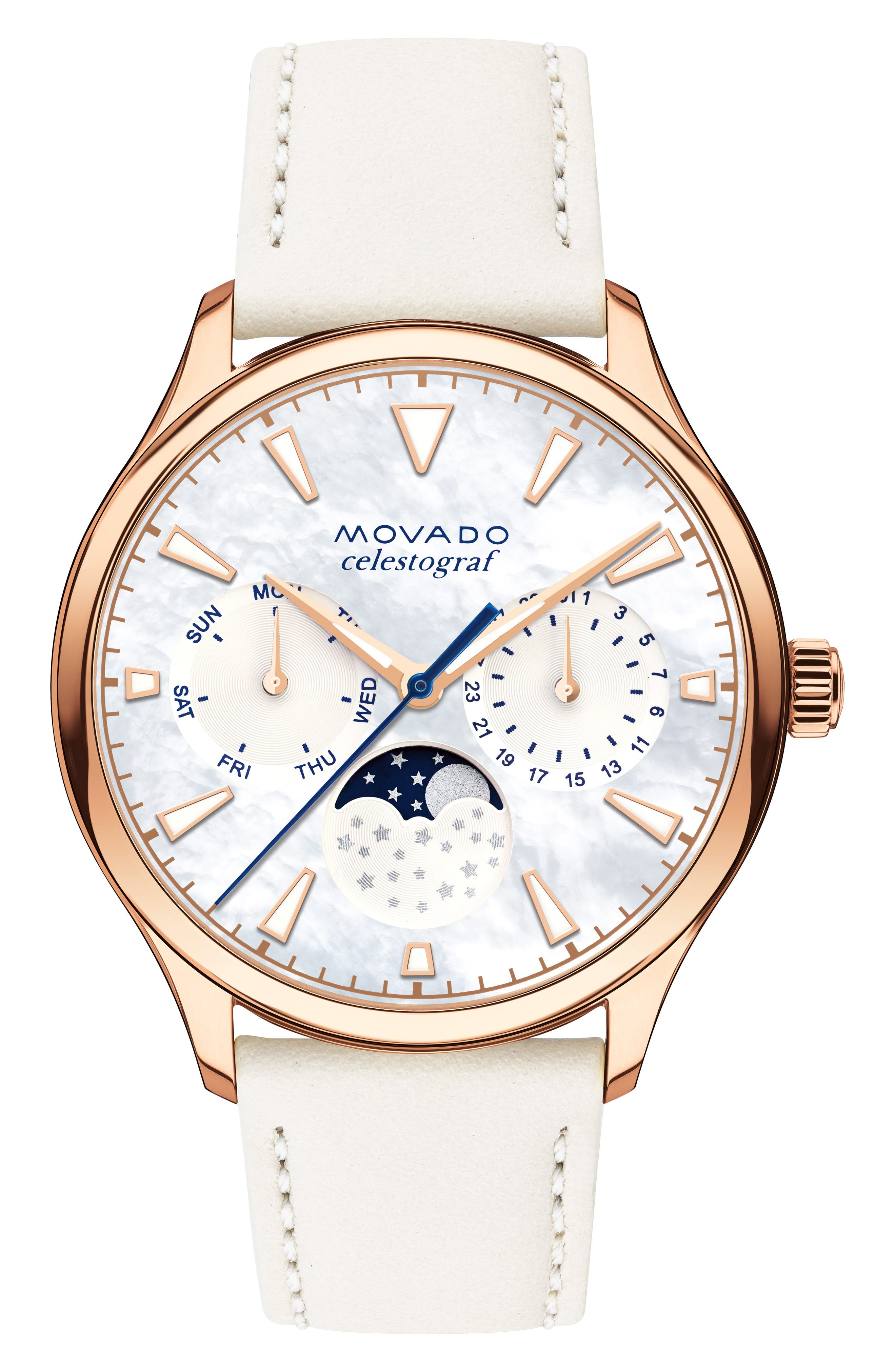Heritage Celestograf Leather Strap Watch, 36mm,                             Main thumbnail 1, color,                             WHITE/ MOP/ ROSE GOLD