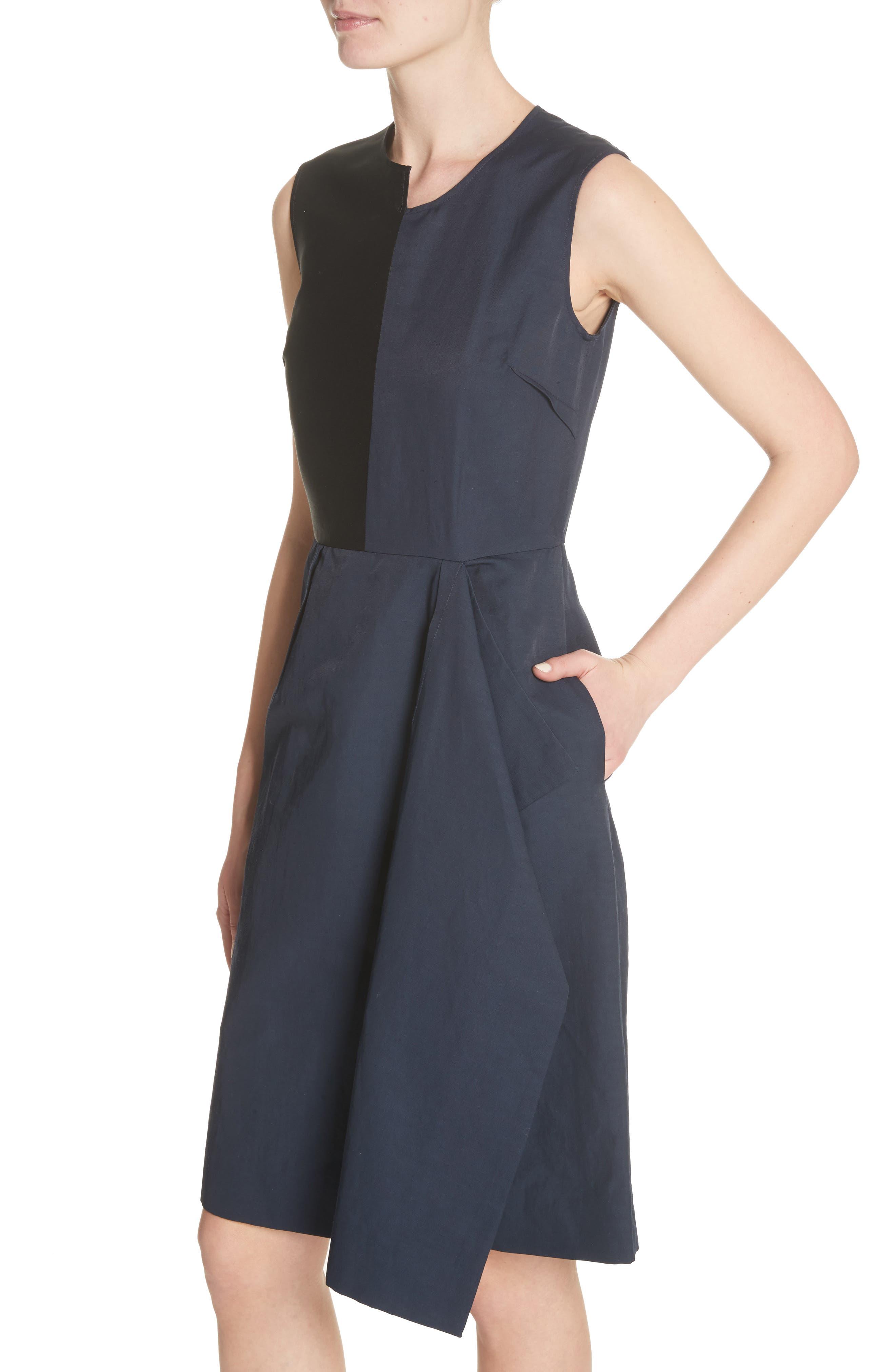 Patchwork A-Line Dress,                             Alternate thumbnail 4, color,                             001