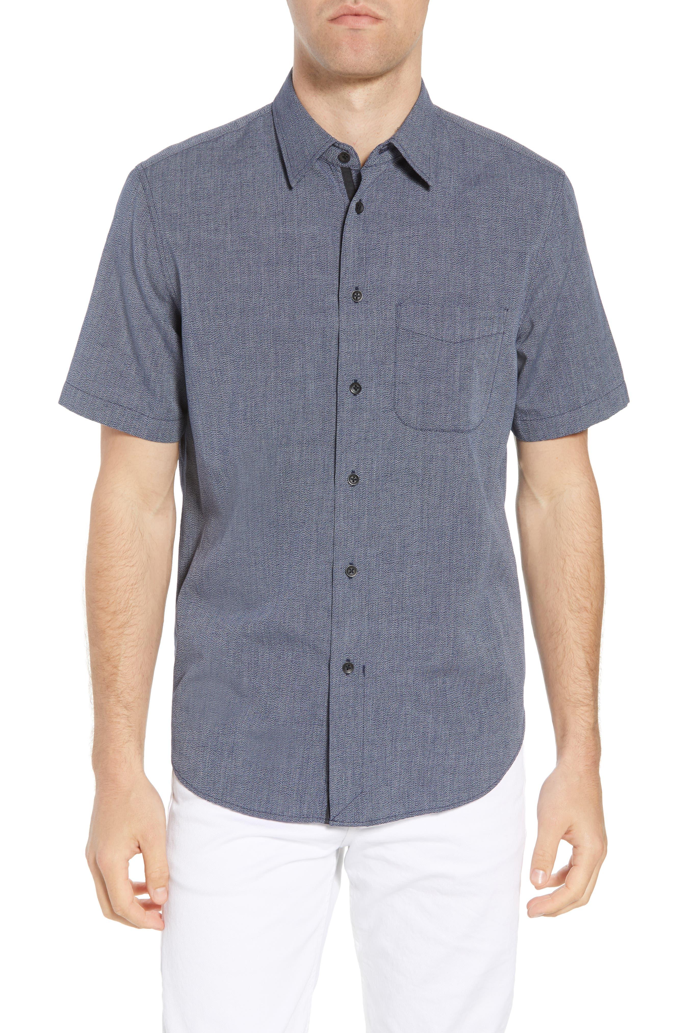 Regular Fit Short Sleeve Sport Shirt,                         Main,                         color, BLUE