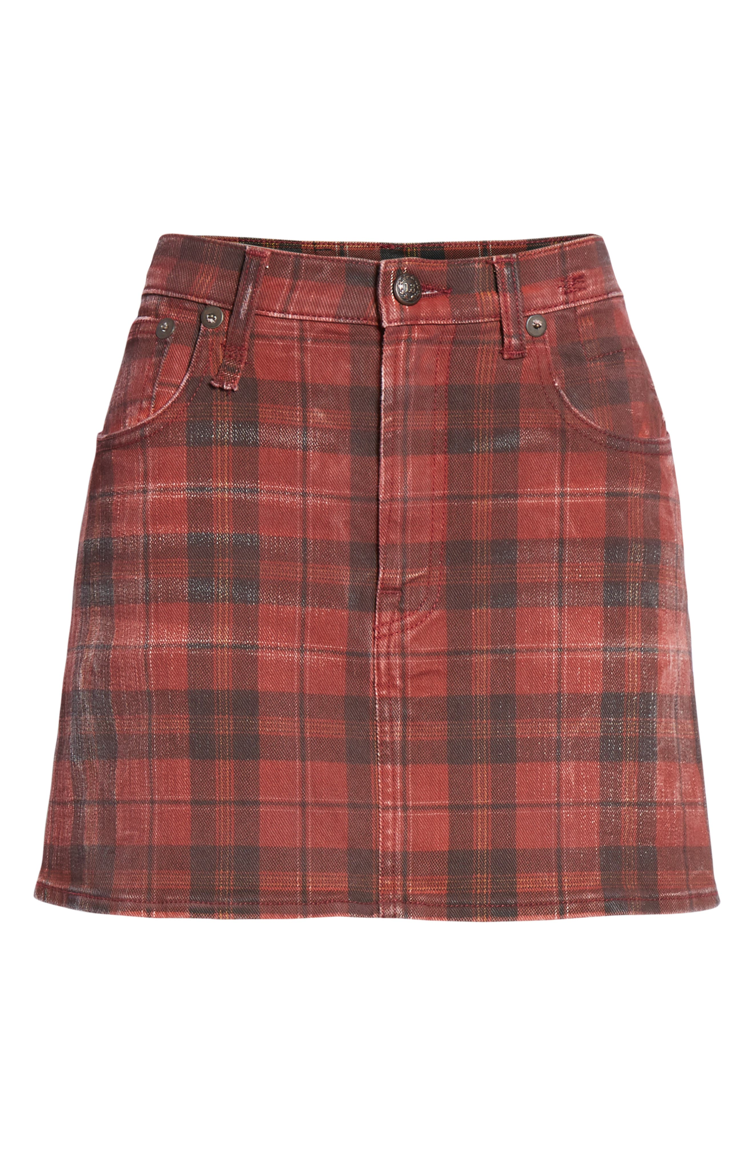 R13,                             Plaid Denim Miniskirt,                             Alternate thumbnail 6, color,                             600