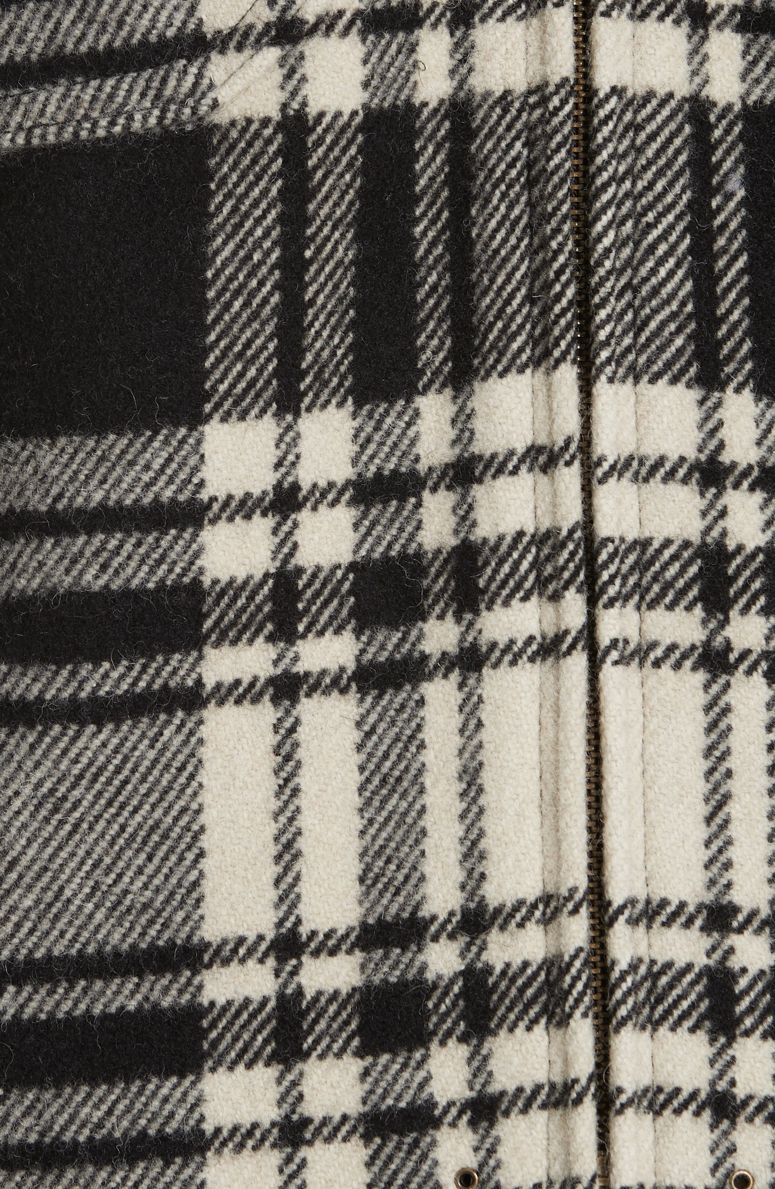 Wool Blend Plaid Jacket,                             Alternate thumbnail 6, color,                             BLACK/ CREAM