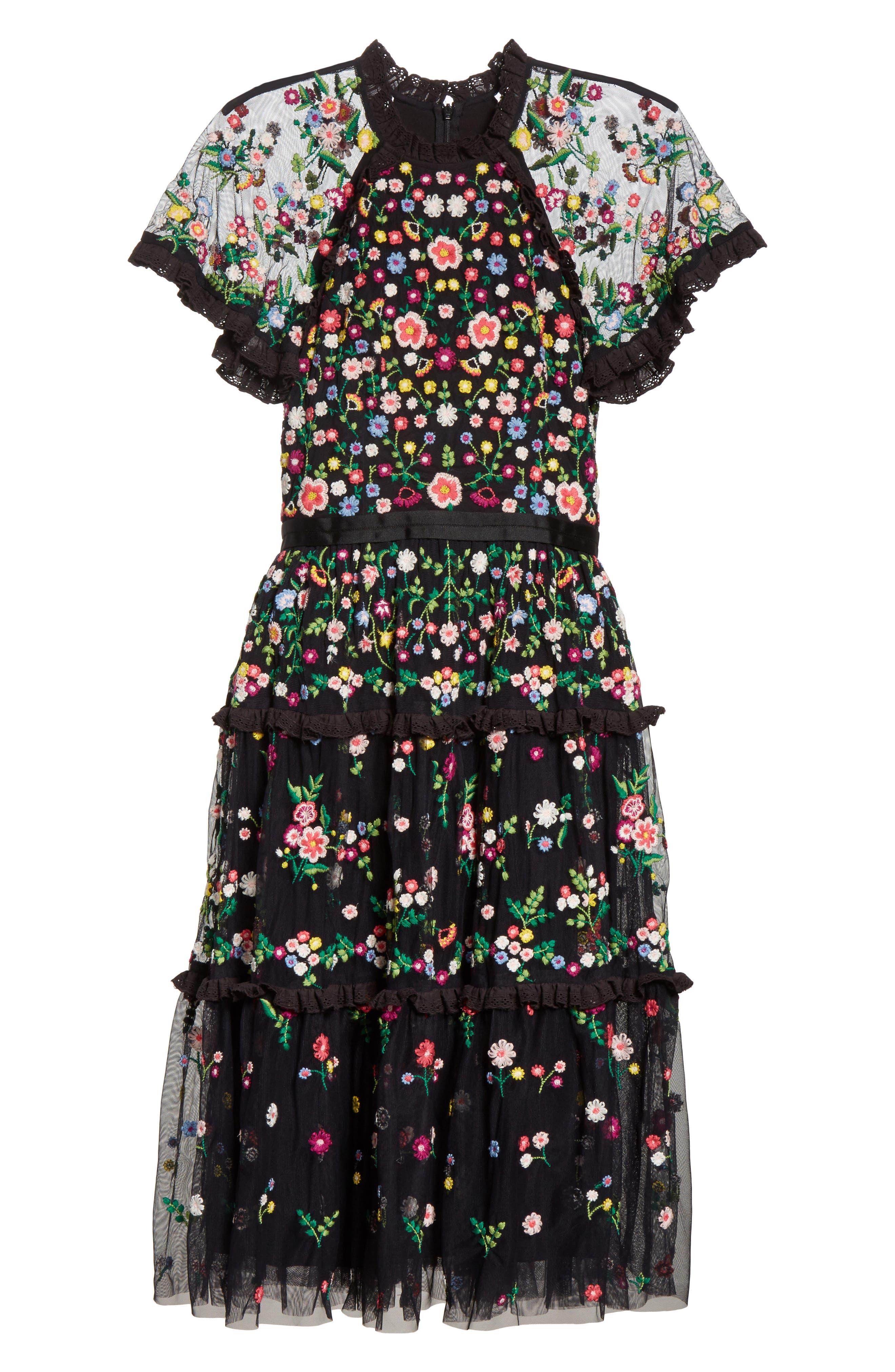 Lazy Daisy Fit & Flare Dress,                             Alternate thumbnail 6, color,                             001