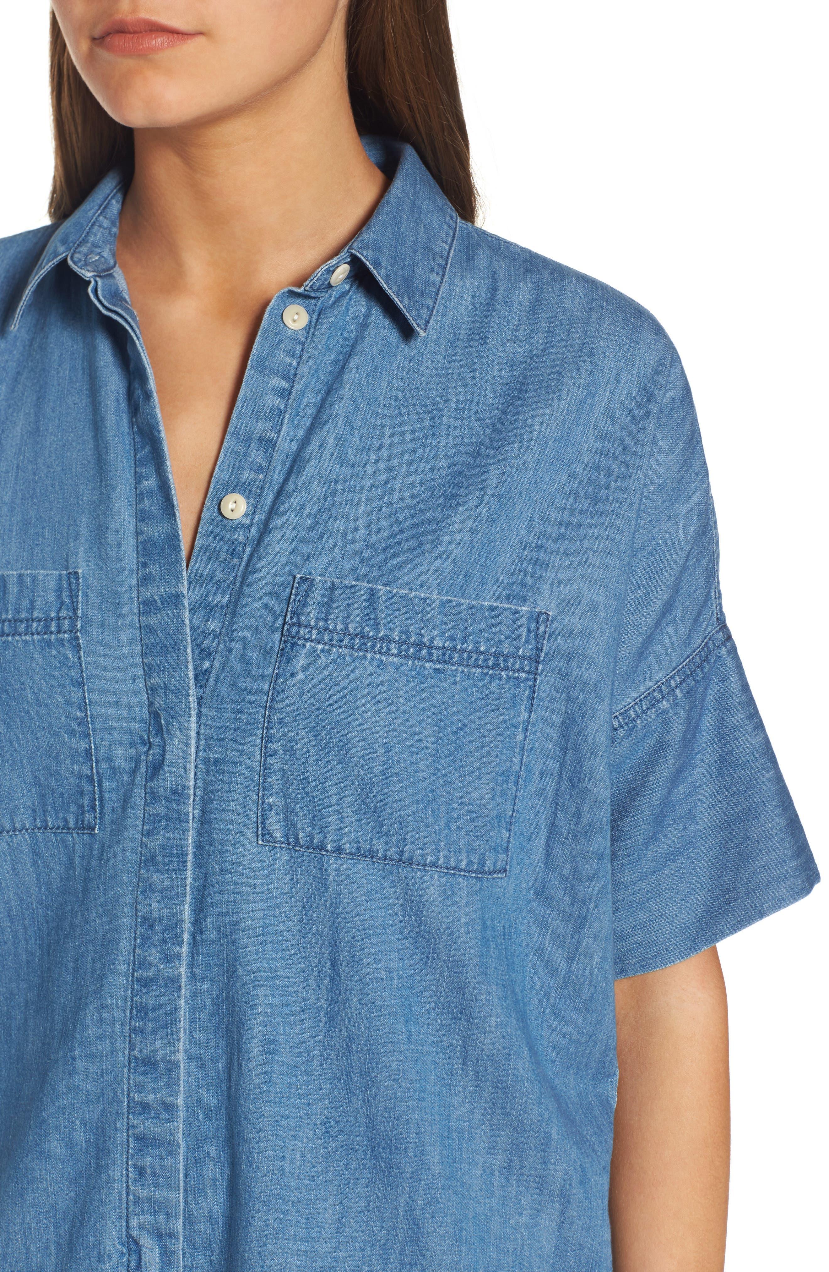 Courier Denim Shirtdress,                             Alternate thumbnail 4, color,                             409