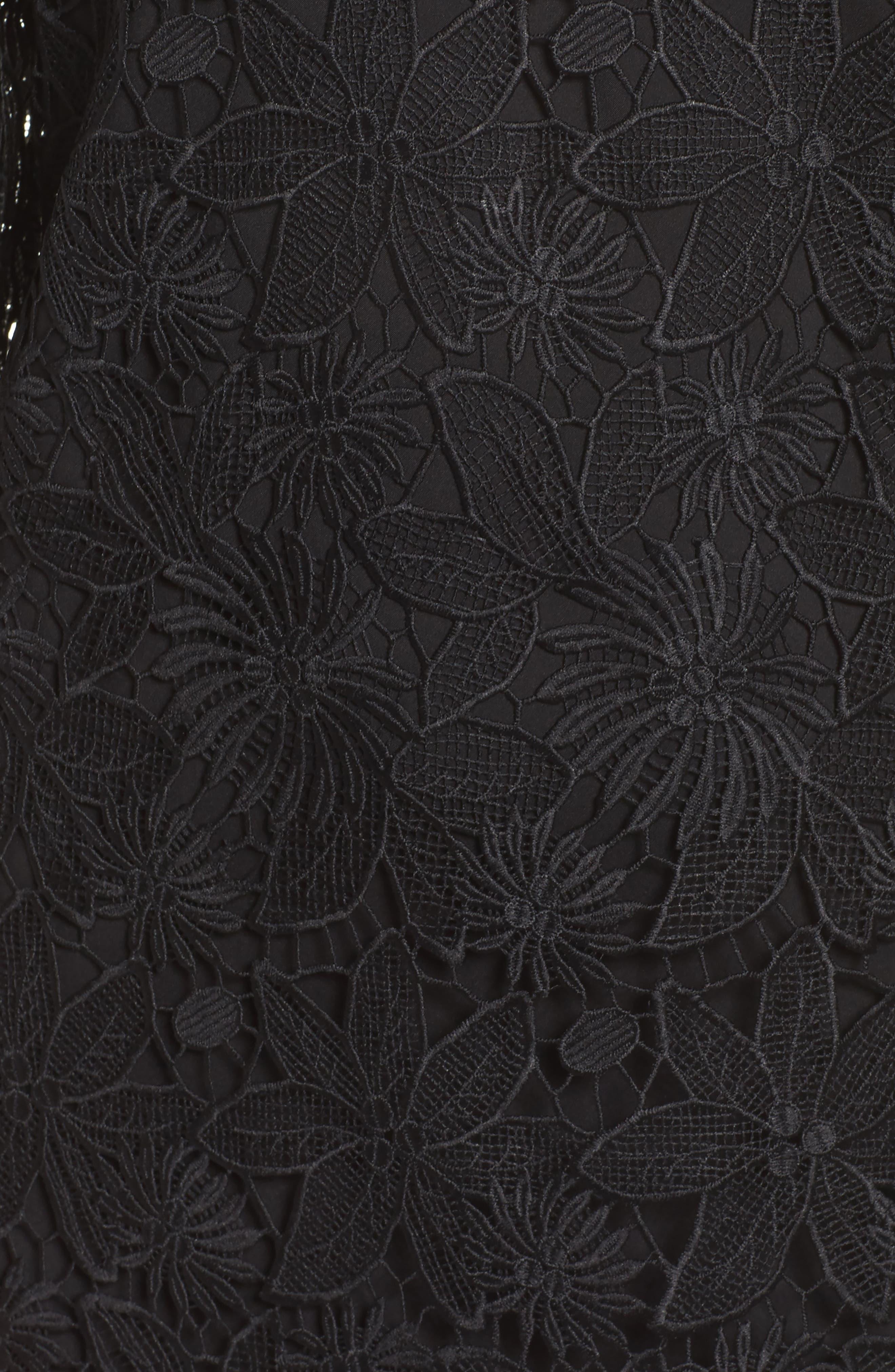 Edna Cold Shoulder Lace Dress,                             Alternate thumbnail 5, color,                             001