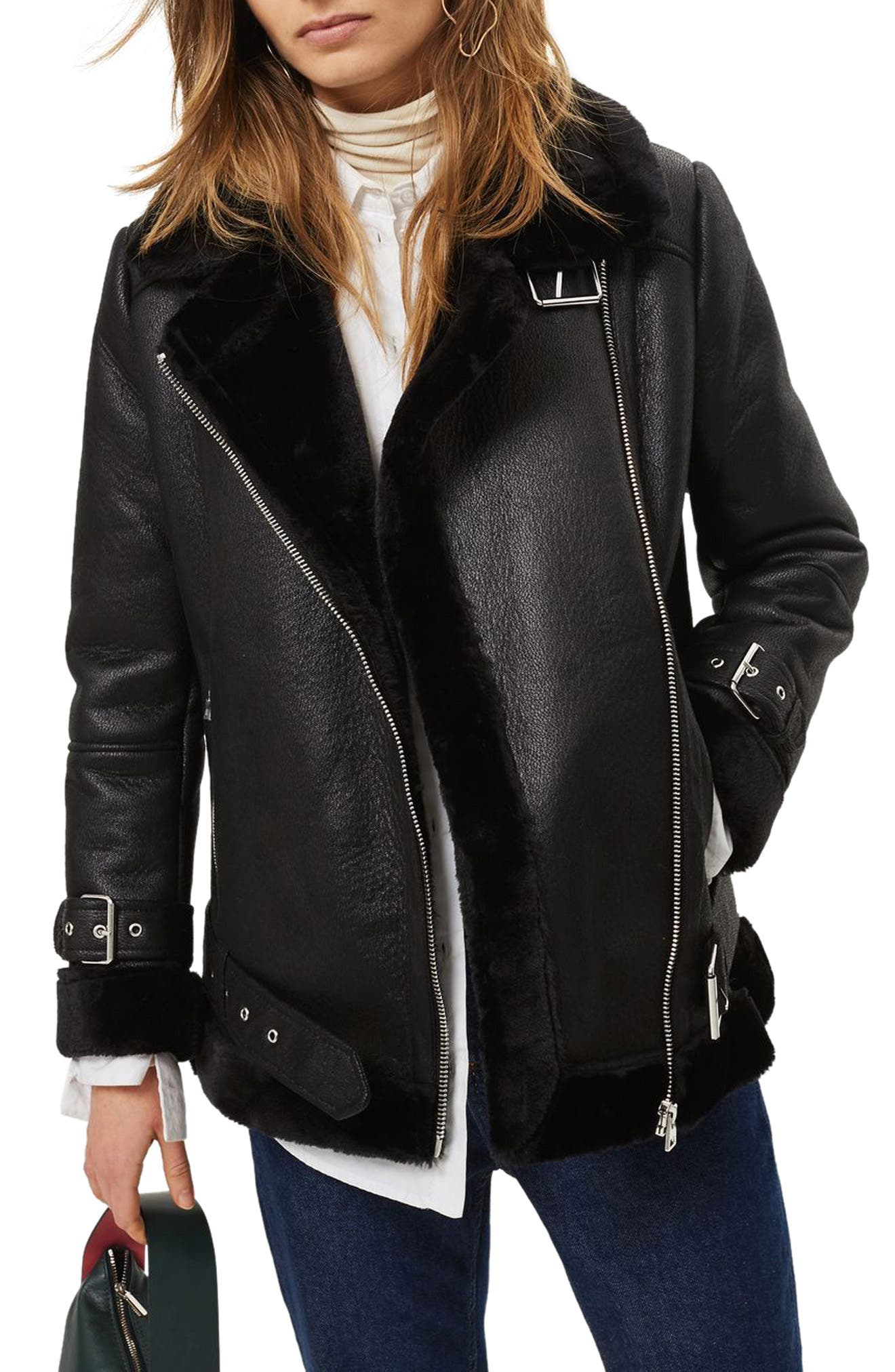 TOPSHOP Faux Shearling Biker Jacket, Main, color, 001